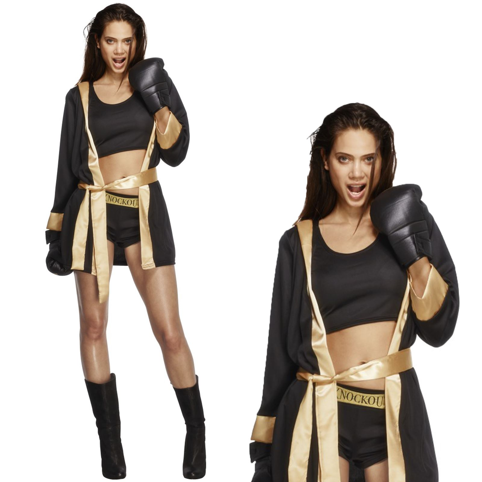 Adulto Costume Boxer Knockout Donna Fighter Costume Outfit Nuovi