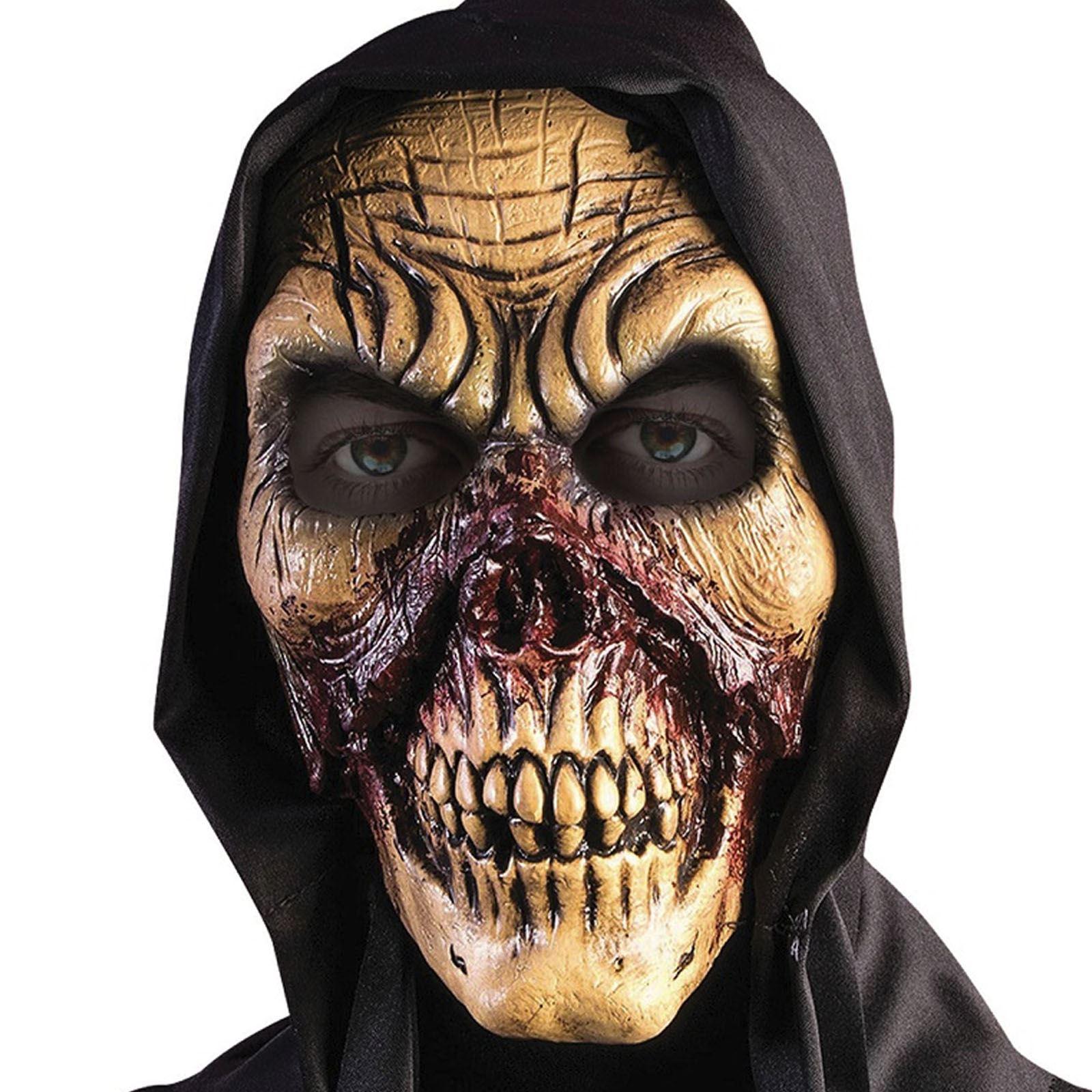 hooded bloody skull latex mask