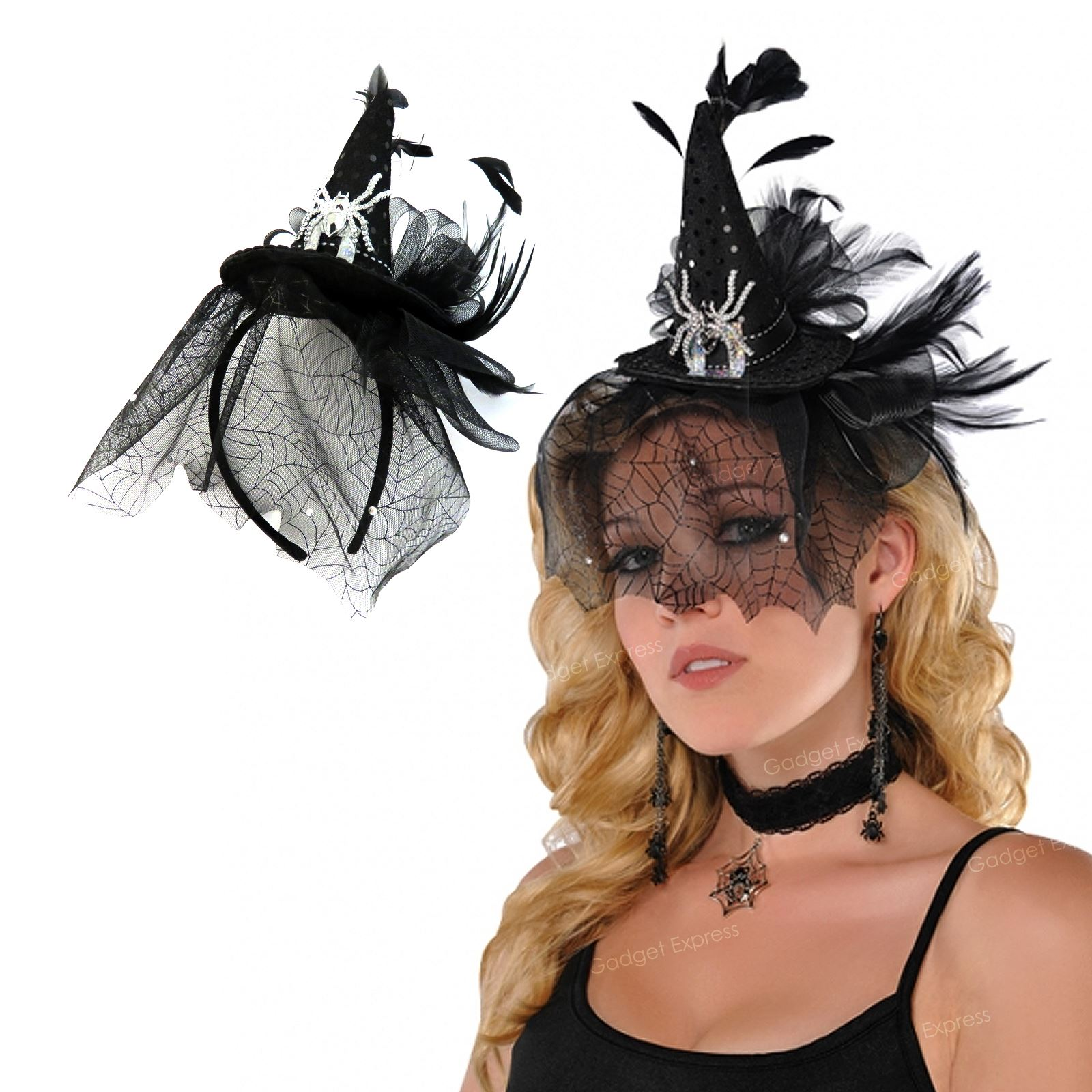 Details about Spiderweb Witch Witches Gothic Fascinator Hat on Headband  Halloween Fancy Dress 1367f80b257
