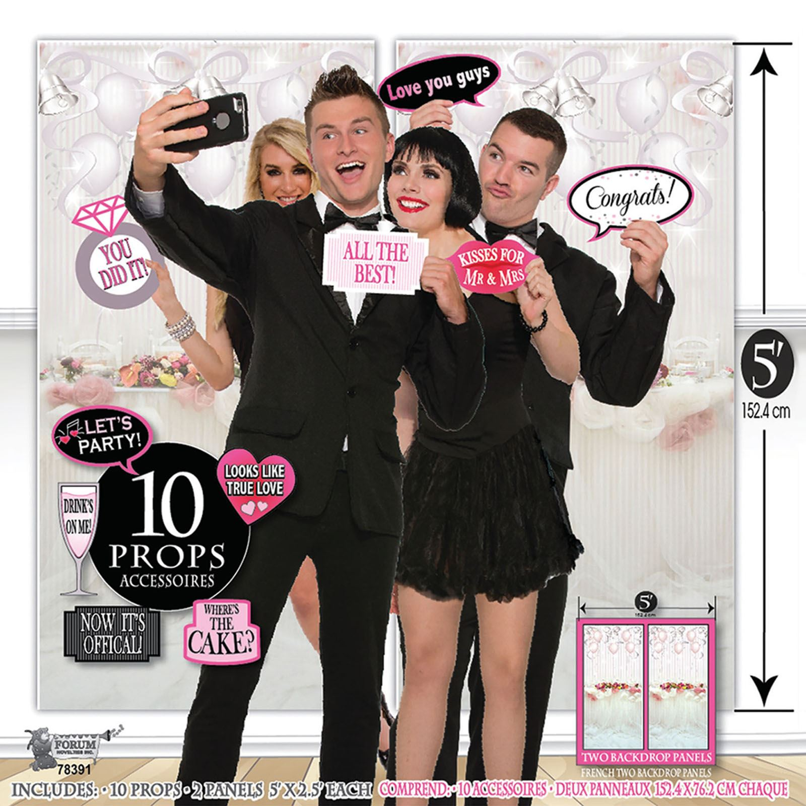 12pcs Wedding Photo Booth Set Props with Background Party Selfie Photography Kit