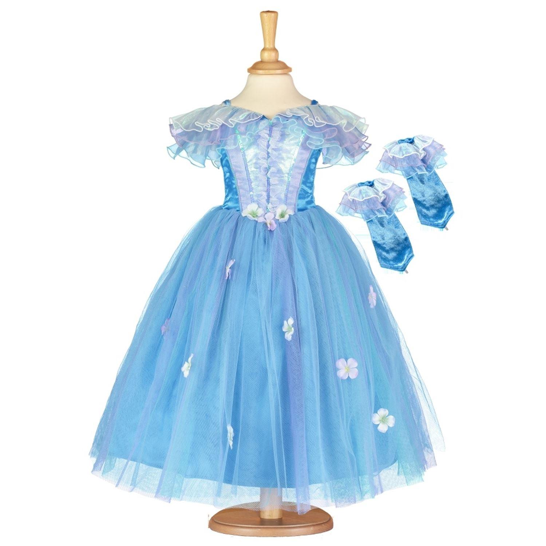 Deluxe Robe Filles Princesse Fleur Bleu French Aurora Fairy Fancy Dress Costume