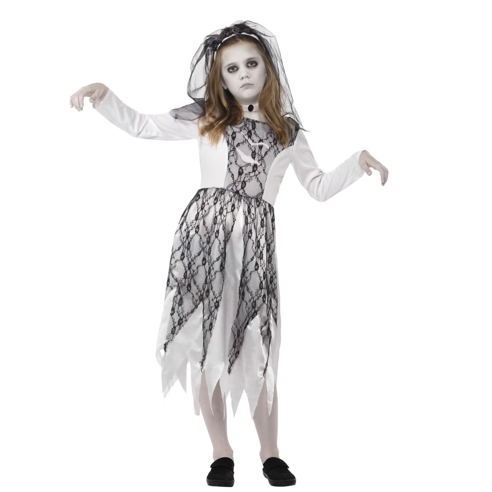 Girls Grey Ghostly Bride Costume With Veil Halloween Ghoul