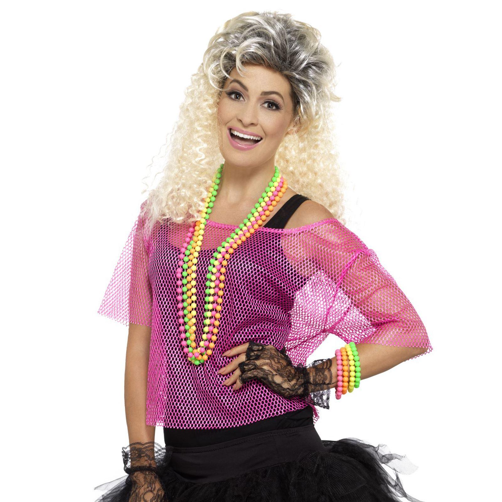 Adult Ladies 80s 90s Neon Disco Rave Retro Fishnet Top Fancy Dress ...