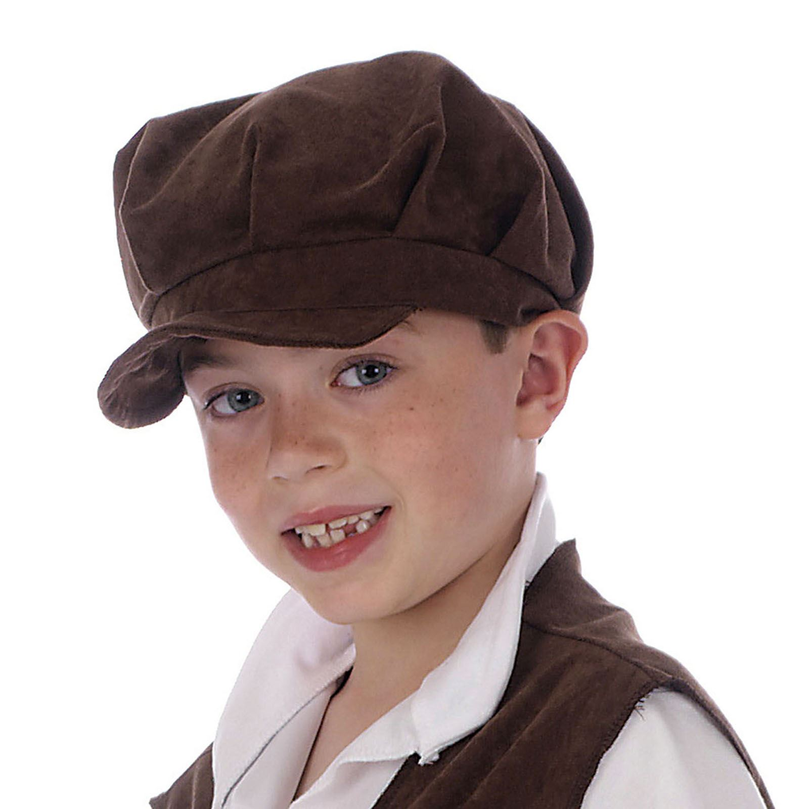 45ca7b3d Childs Oliver Pauper Hat Urchin Boy Girl Brown Victorian Flat Cap ...