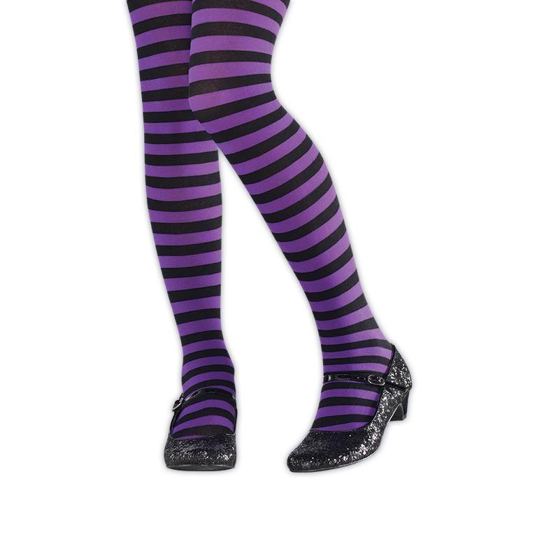 Girls Wicked Witch Purple Green Stripe Tights Fancy Dress Book Day Halloween