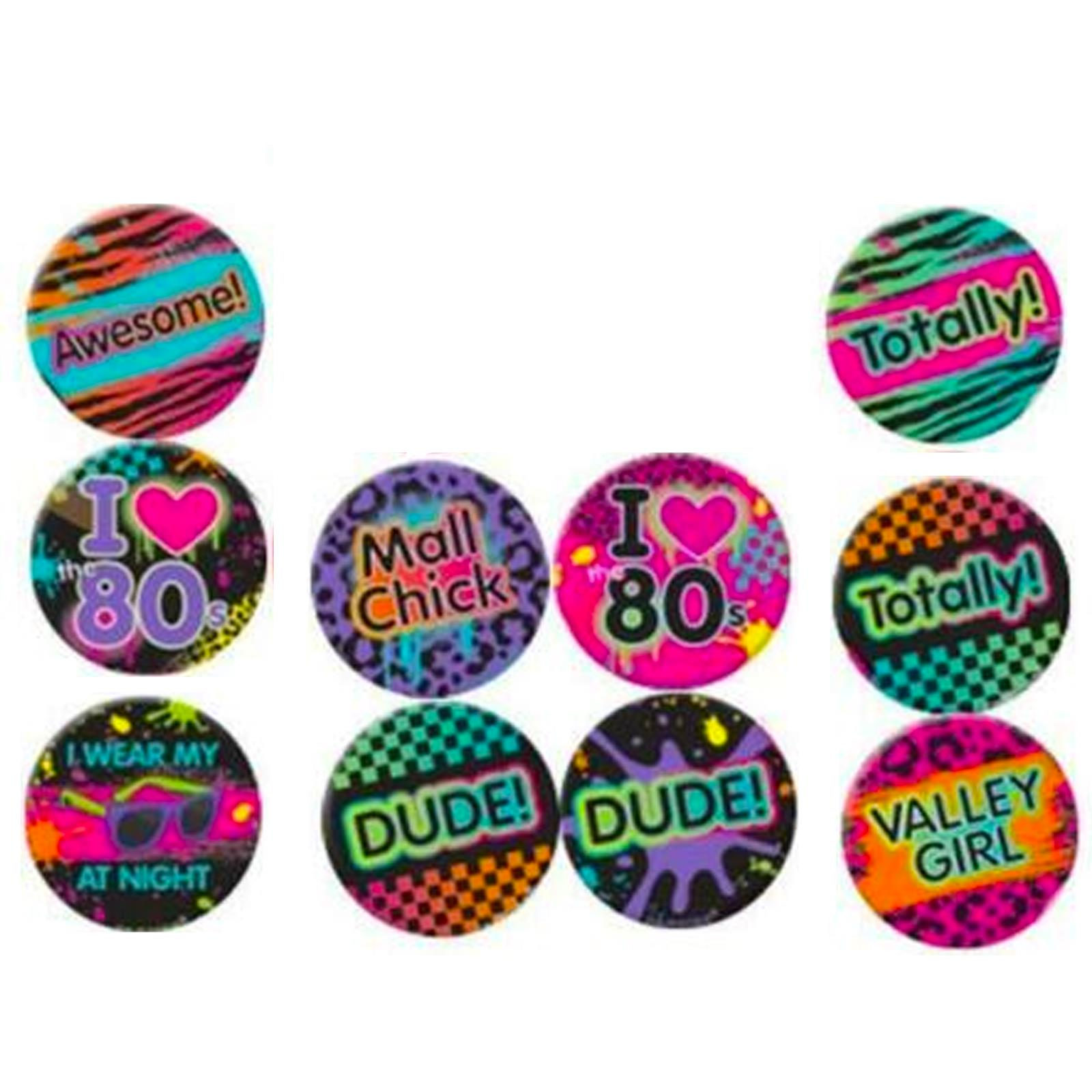 10 x 1980 1980/'s 80/'s Disco Birthday Party Assorted Button Badges
