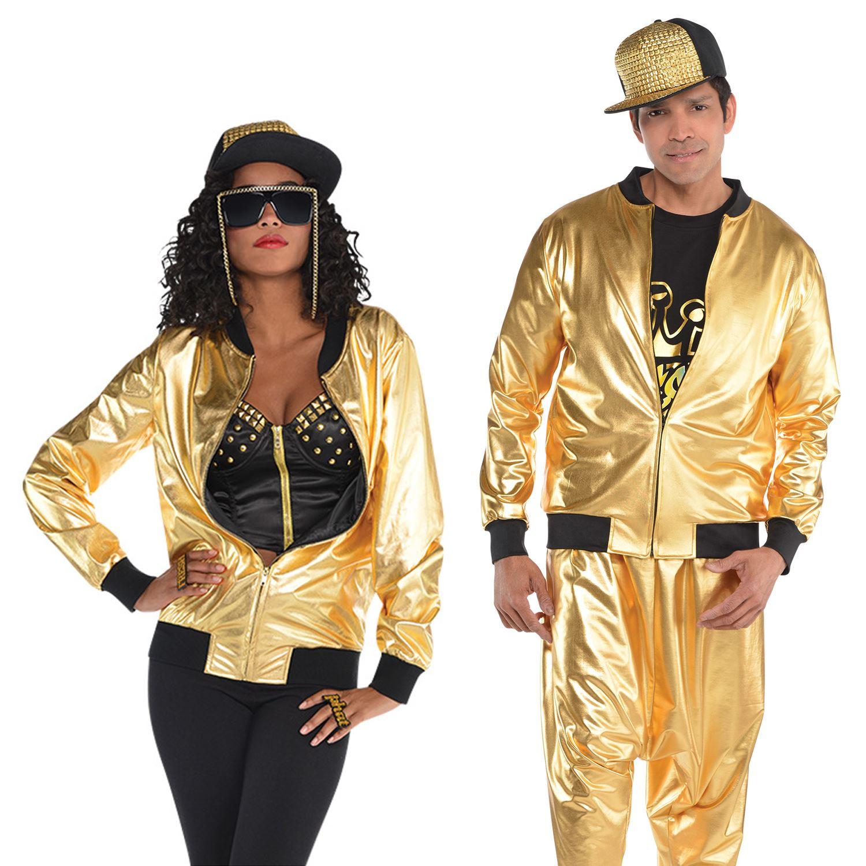 104f88493 Details about Gold Hip Hop Sparkly Jacket Adult Men Ladies 80s Rapper 1980s  Fancy Dress Outfit