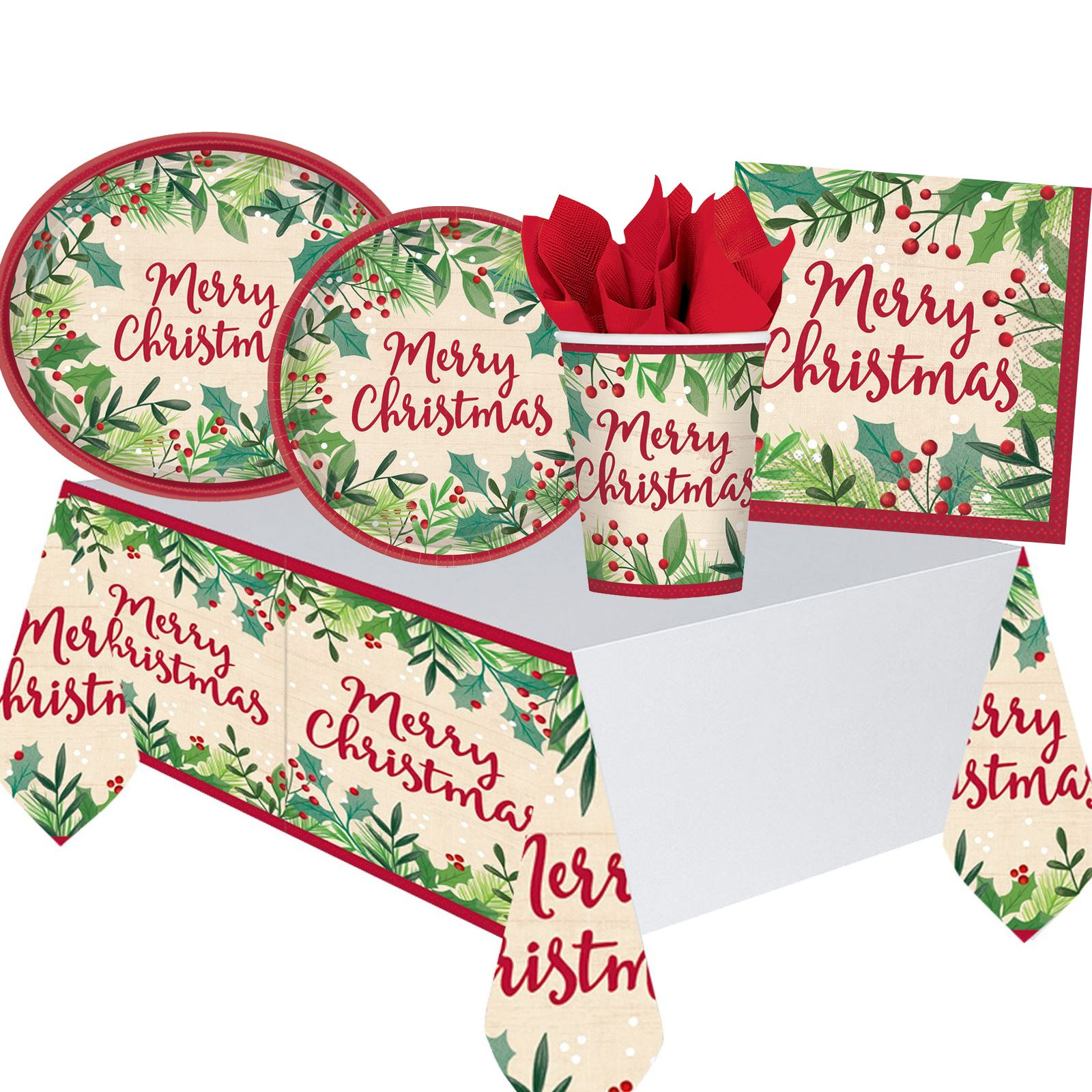 Christmas Paper Plates.Details About Traditional Christmas Party Tableware Paper Plates Napkins Cups Tablecover