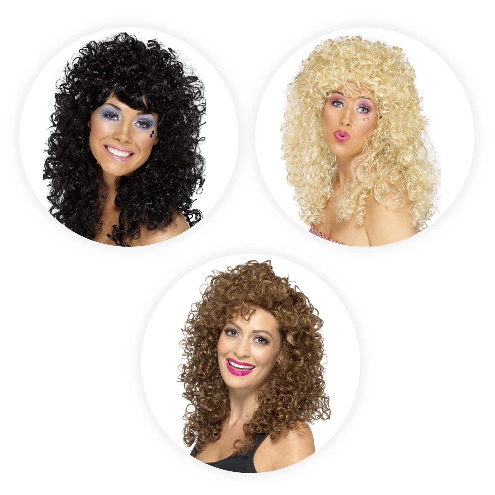 Ladies Boogie Babe Long Curly Wig Fancy Dress Accessory 80s Rocker ... f7469cc5baae