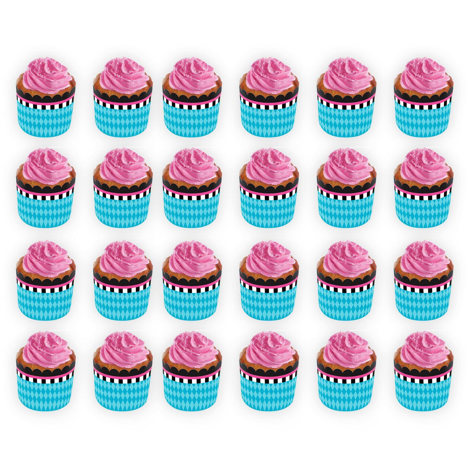 24 Blue Pink Baby Shower Cupcake Cake Cases Bowl Holder Birthday Tea