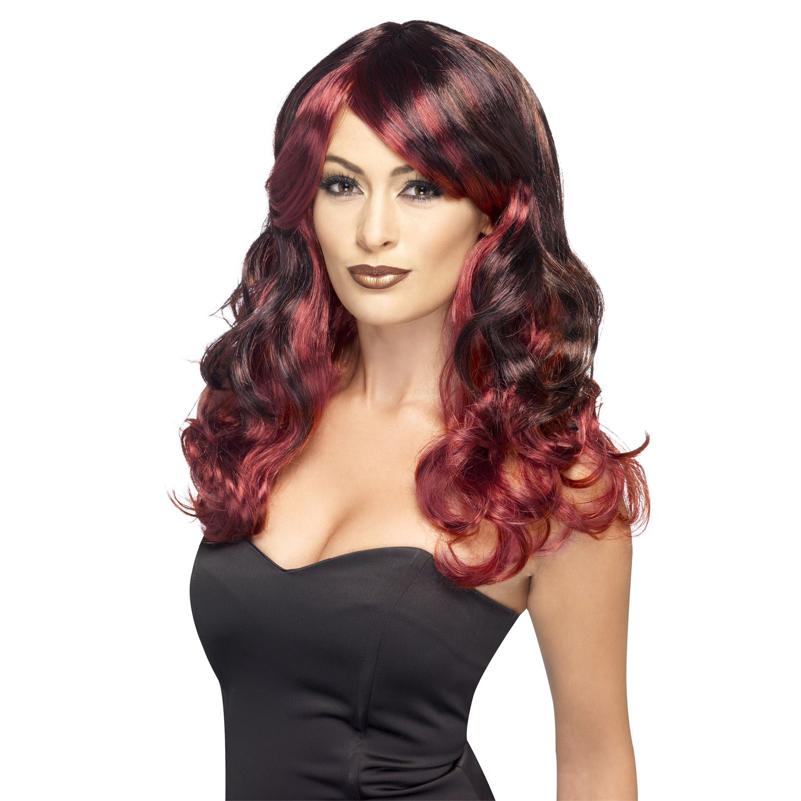 Adult Ladies Ombre Hair Colour Wavy Wig Witch Halloween Fancy Dress