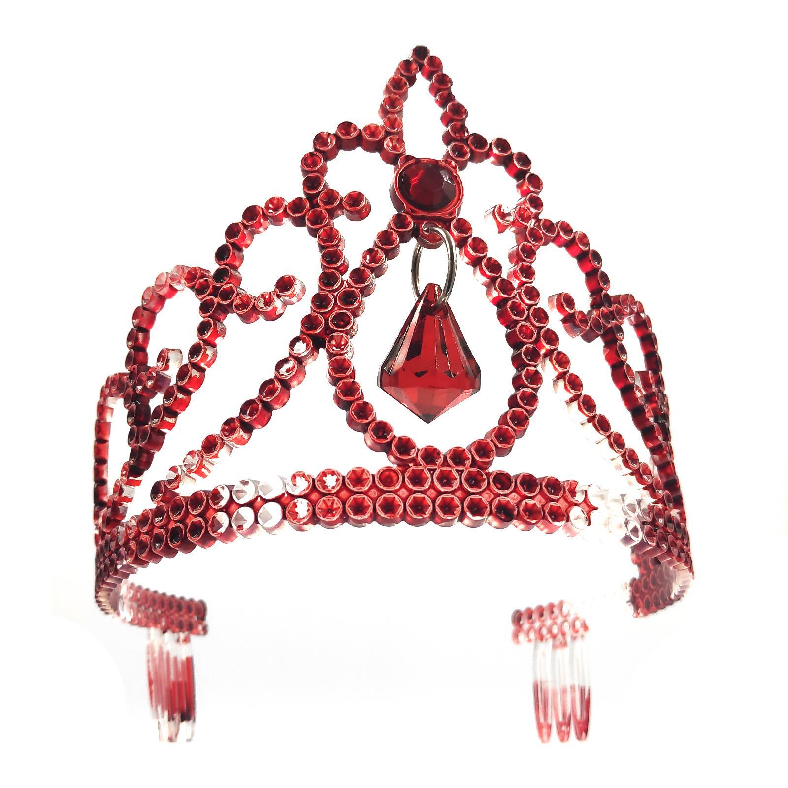 Xmas Costume Fancy Dress Tiara Headress Handcrafted Red Teardrop AB Halloween