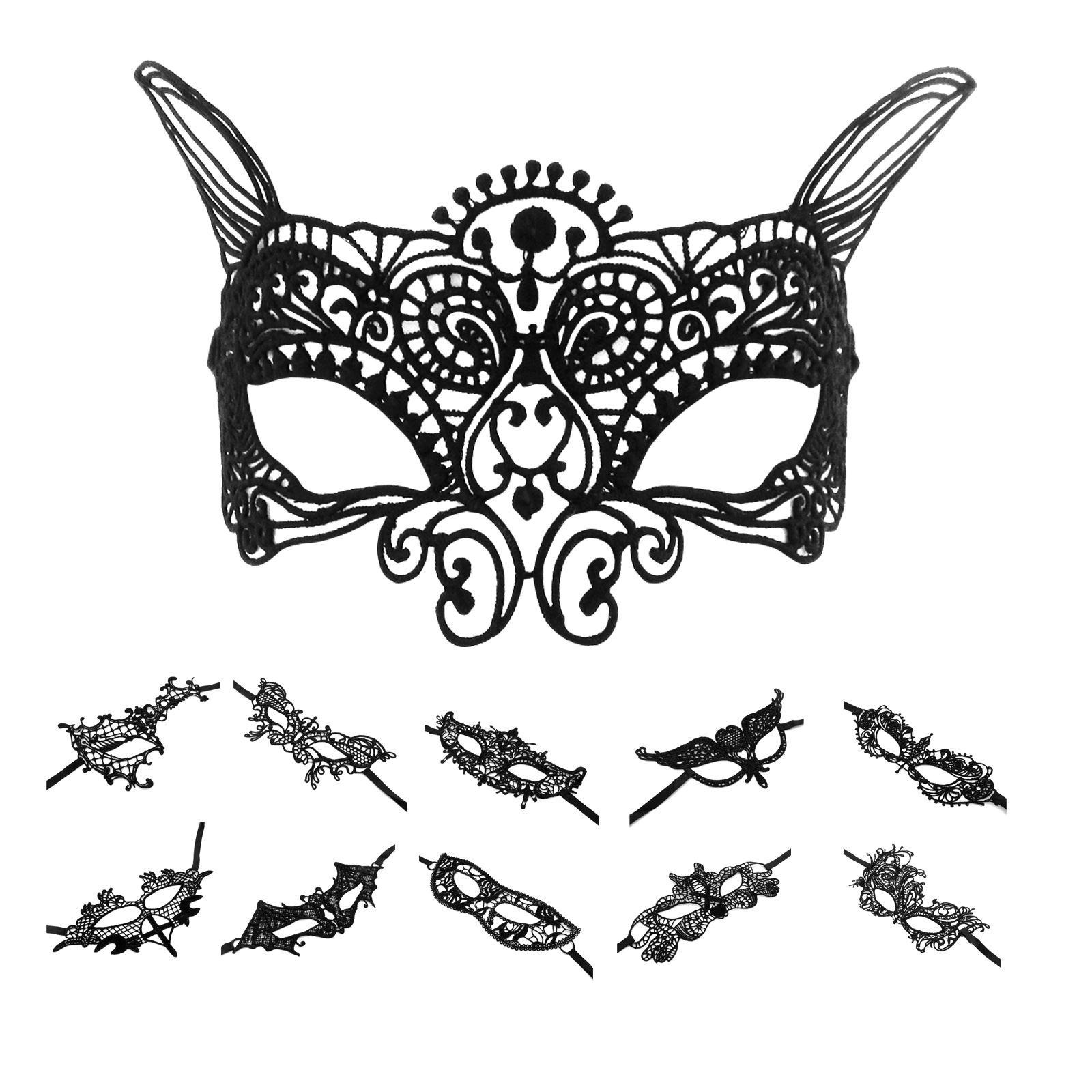 Black Soft Lace Venetian Masquerade Eye Mask Halloween Party Evening Fancy Dress