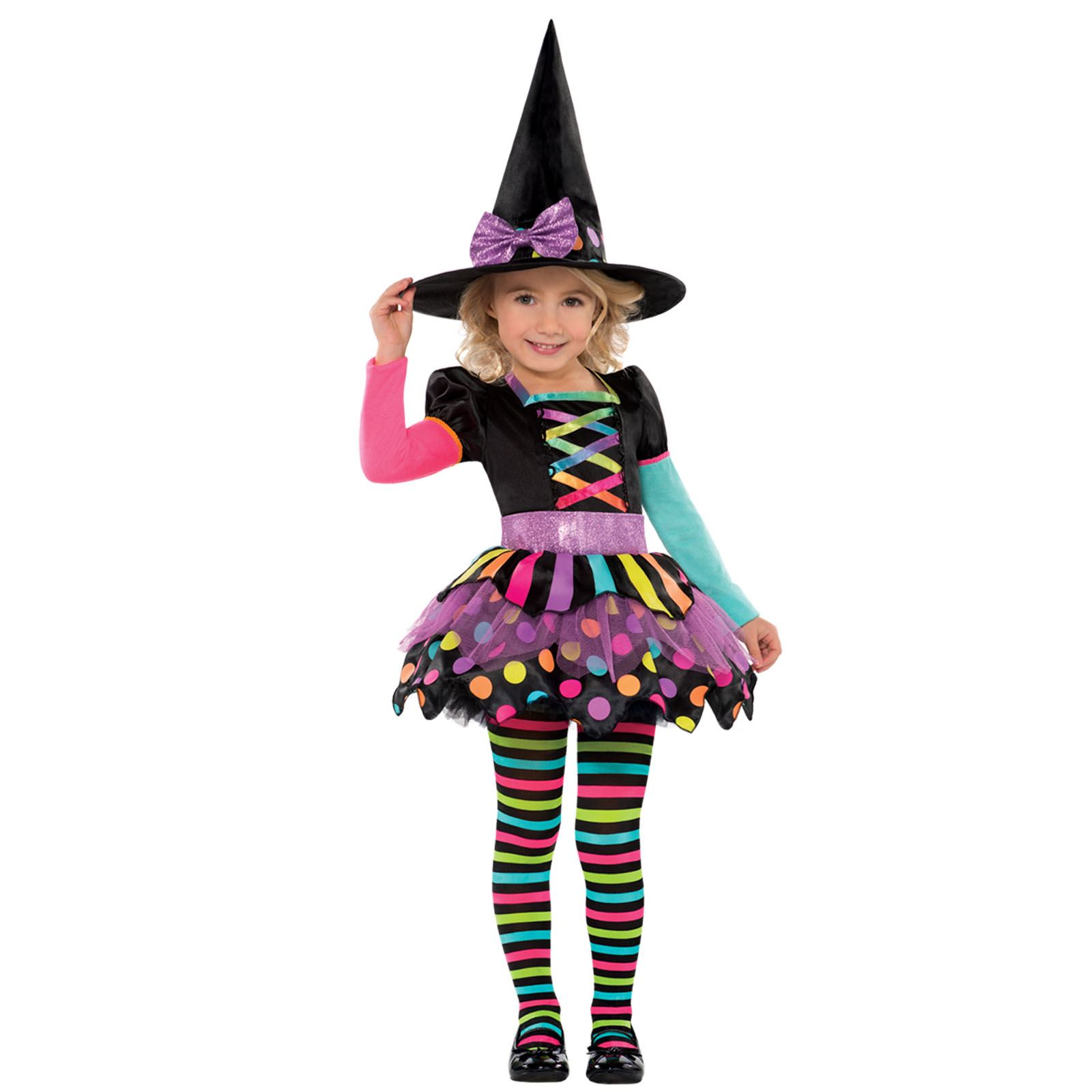 Deluxe Girls Toddler Miss Matched Witch Halloween Fancy Dress ...