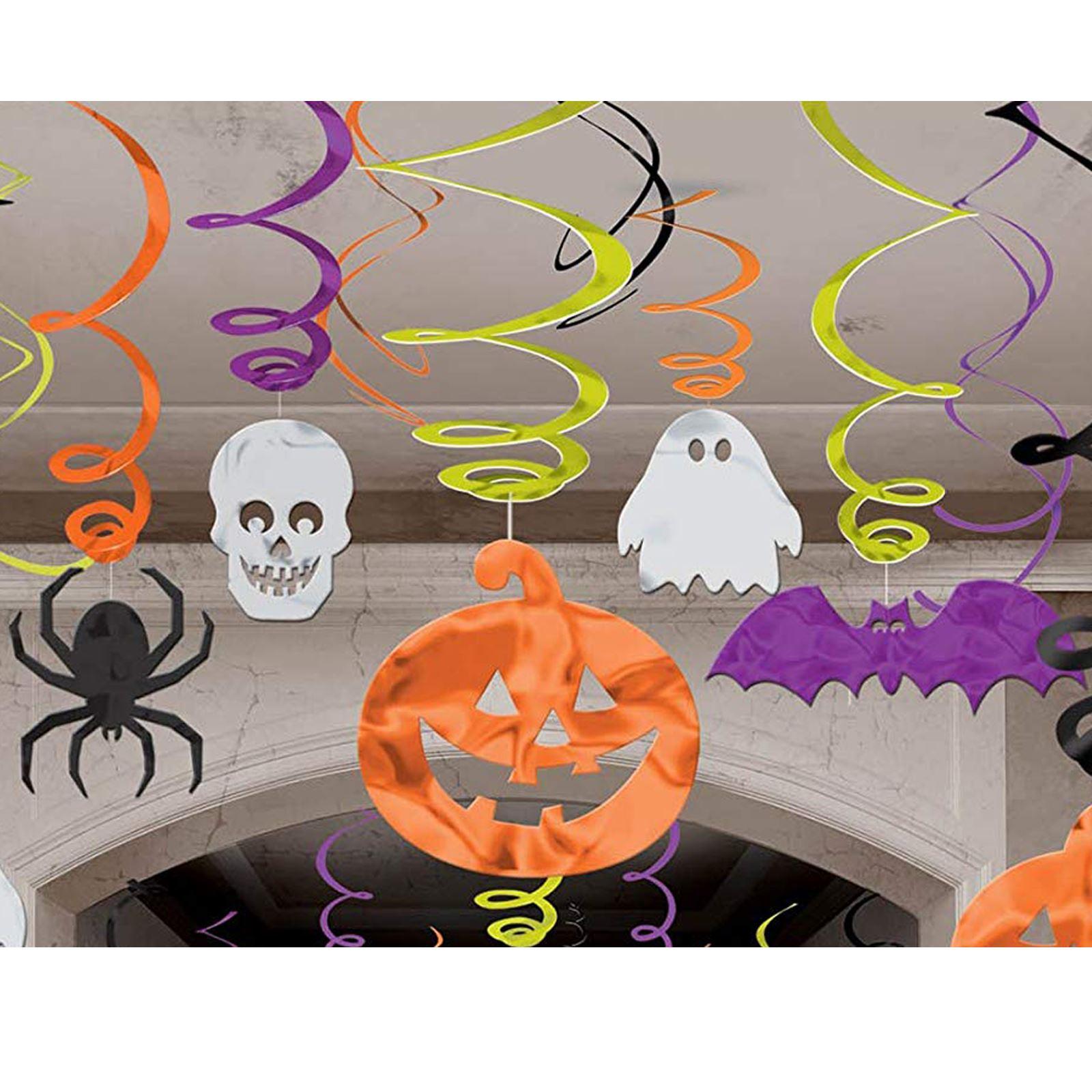 10 PACK FOIL SWIRL DECORATIONS HALLOWEEN SPOOKY SPIDER SKULL GHOST PUMPKIN BATS