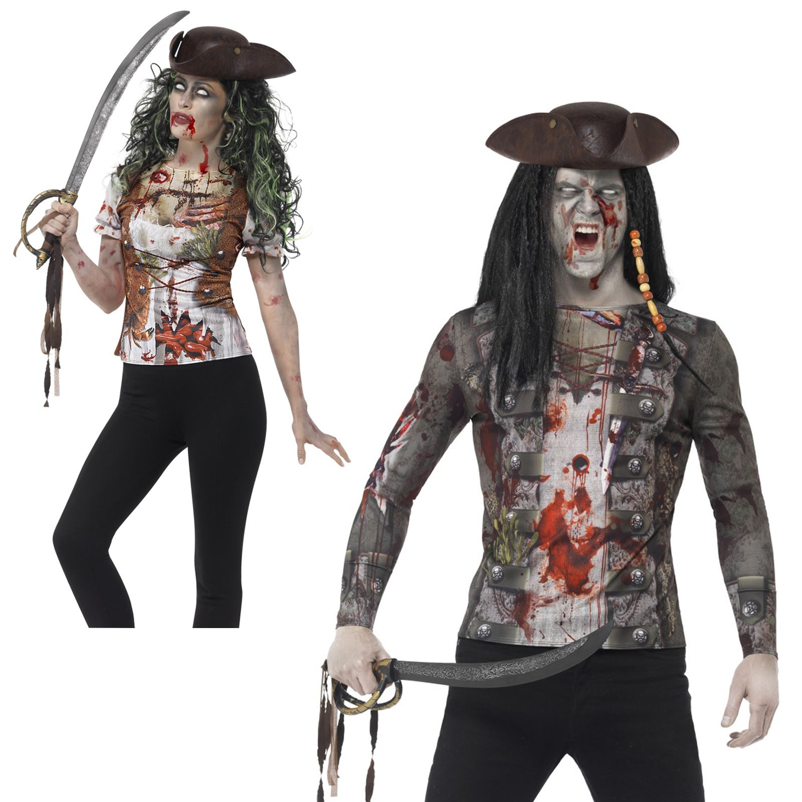 Ladies ZOMBIE TATTER TIGHTS PRINTED for TWD Halloween Living Walking Dead Fancy Dress 1Size Adults Female