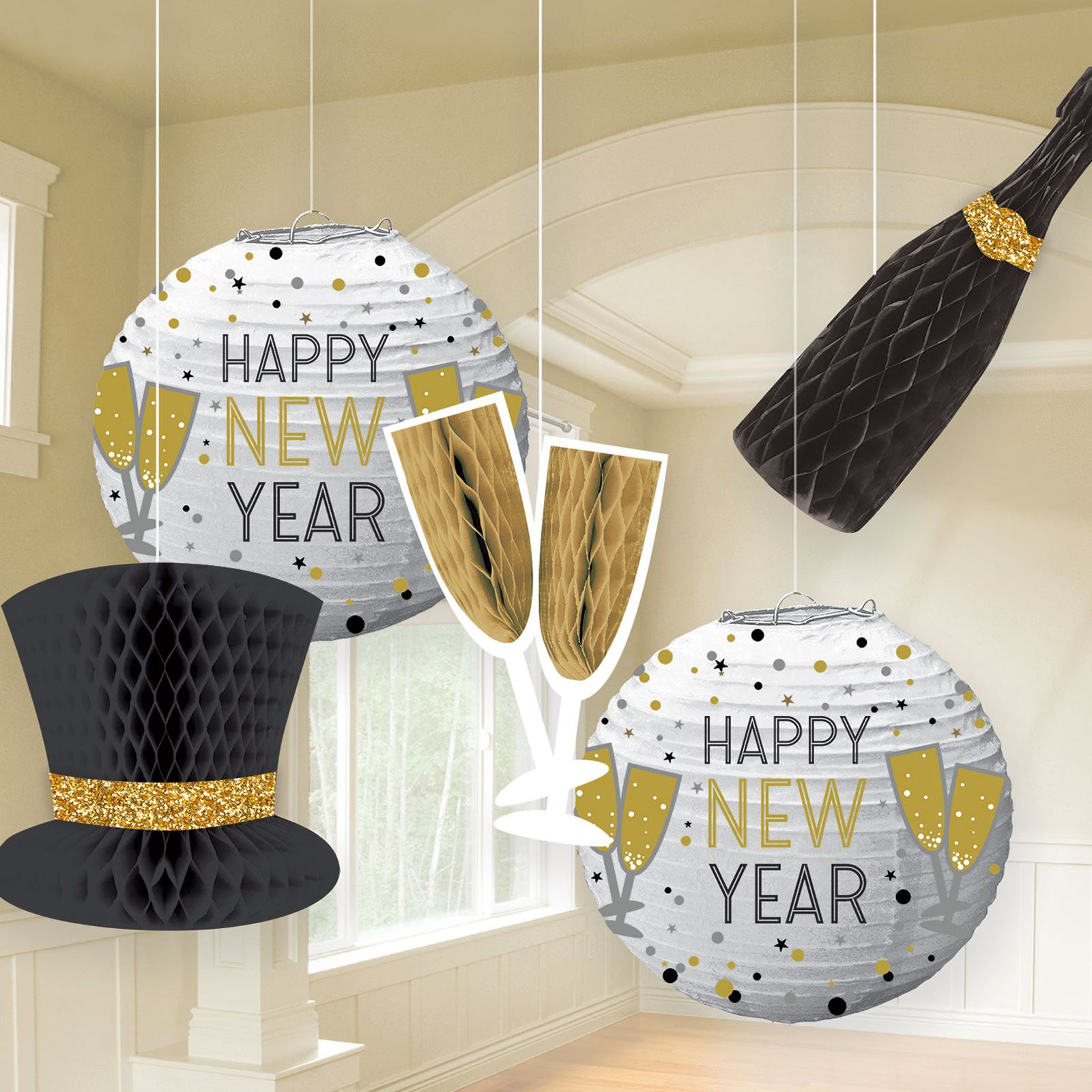 Happy New Years Eve Hanging Wall Ceiling Party Decorations ...