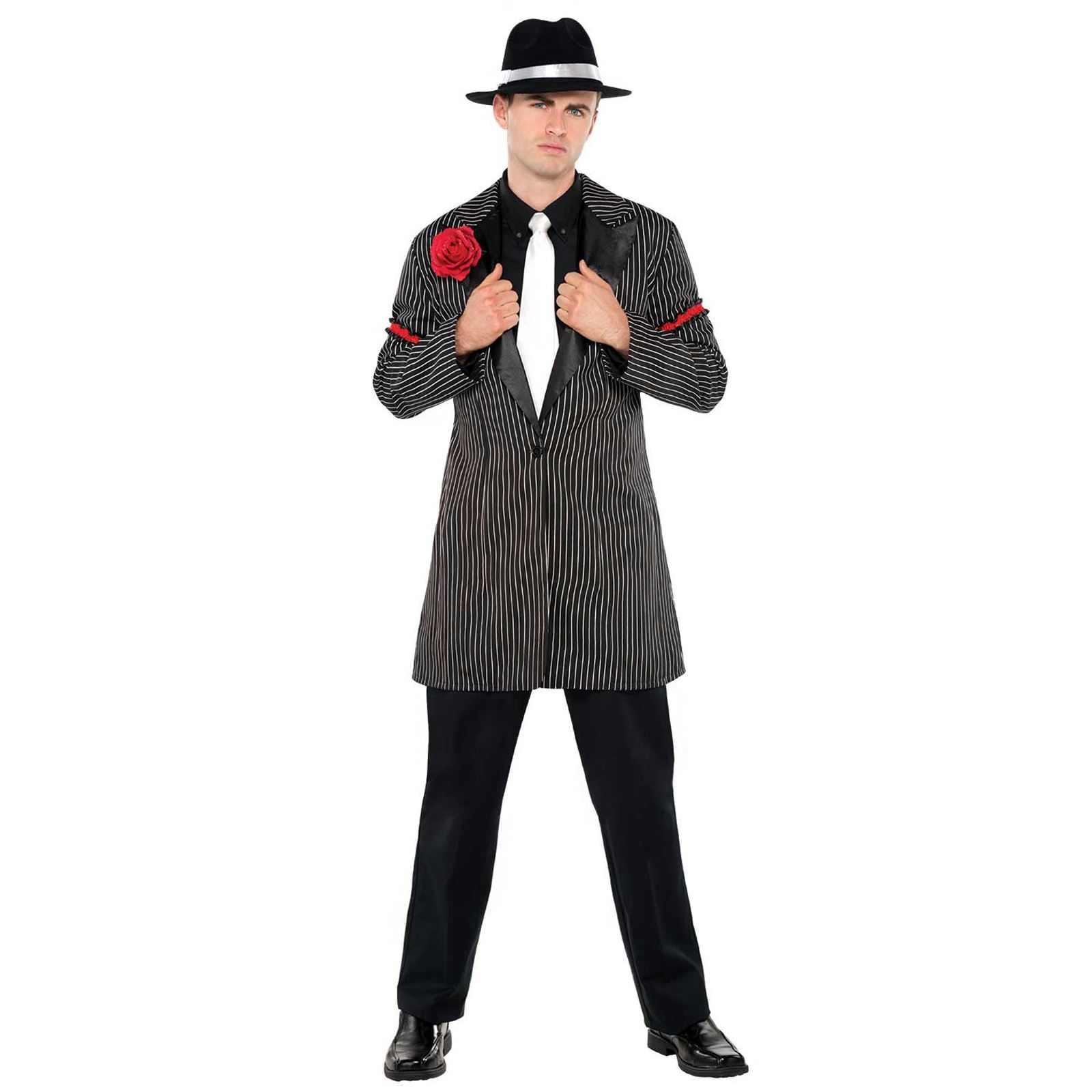 74be1915a7560 Adult Mens Roaring 20s Gatsby Mafia Mob Pinstripe Zoot Suit Jacket ...