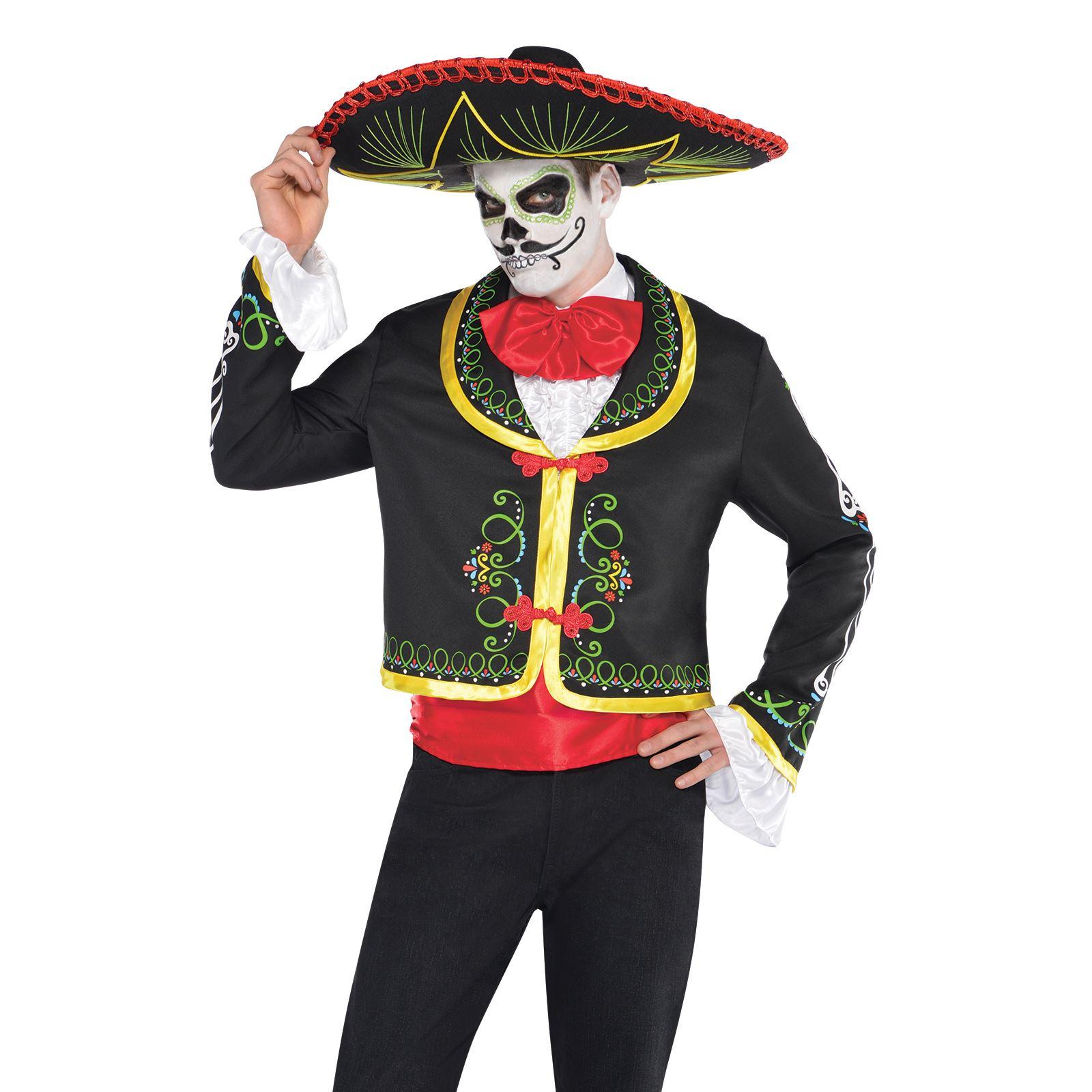 Canna Da Uomo Costume Teschio Messicano Costume Di Halloween Giorno dei Morti Scheletro