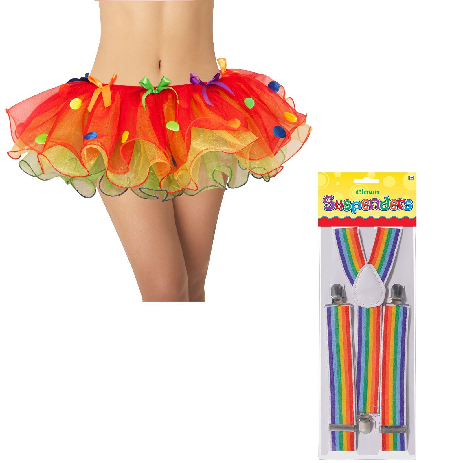 Adults Ladies Clown Tutu Multicoloured Circus Fancy Dress Costume Accessory