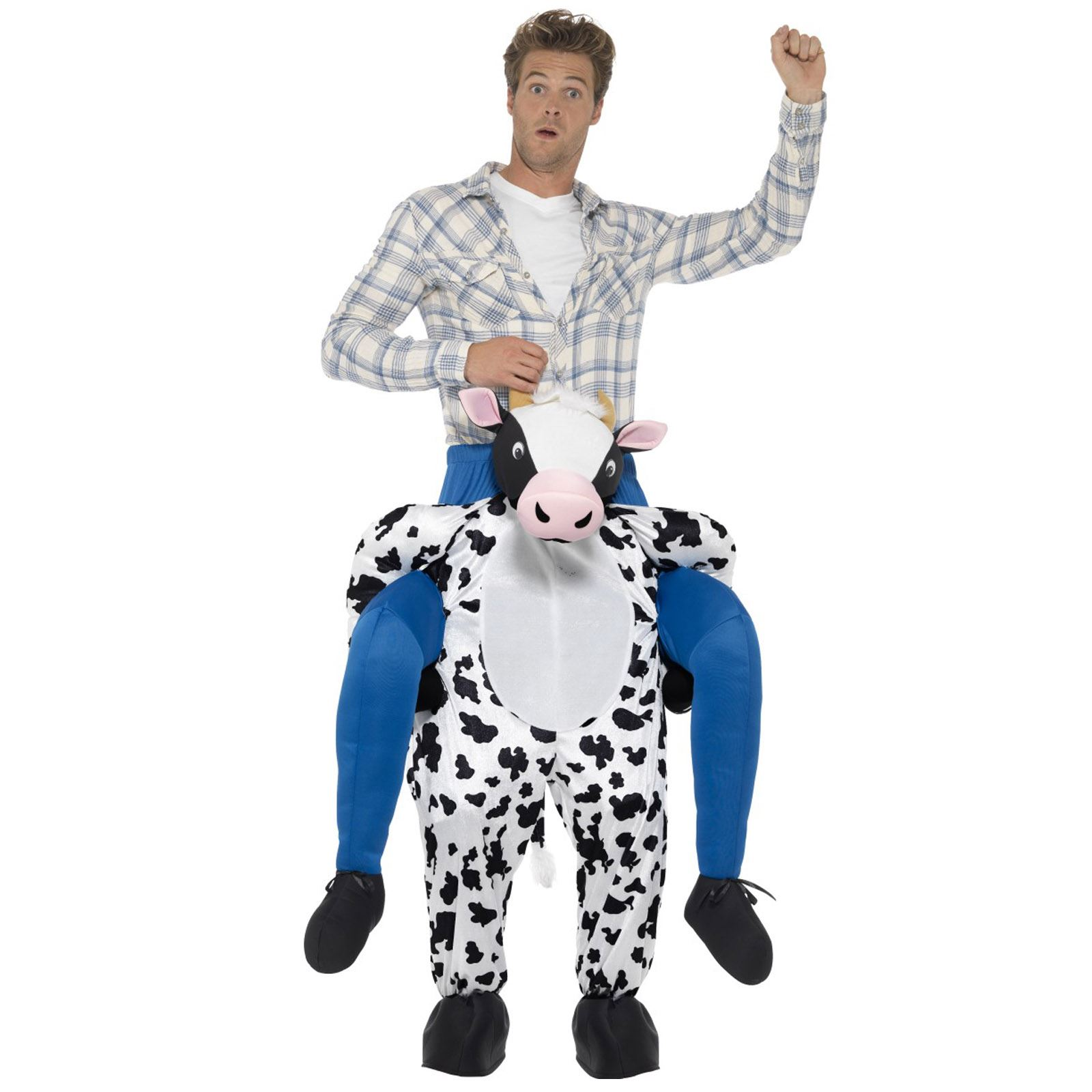 Mens Ladies Black White Cow Animal Bull Fancy Dress Costume Outfit Novelty Hat