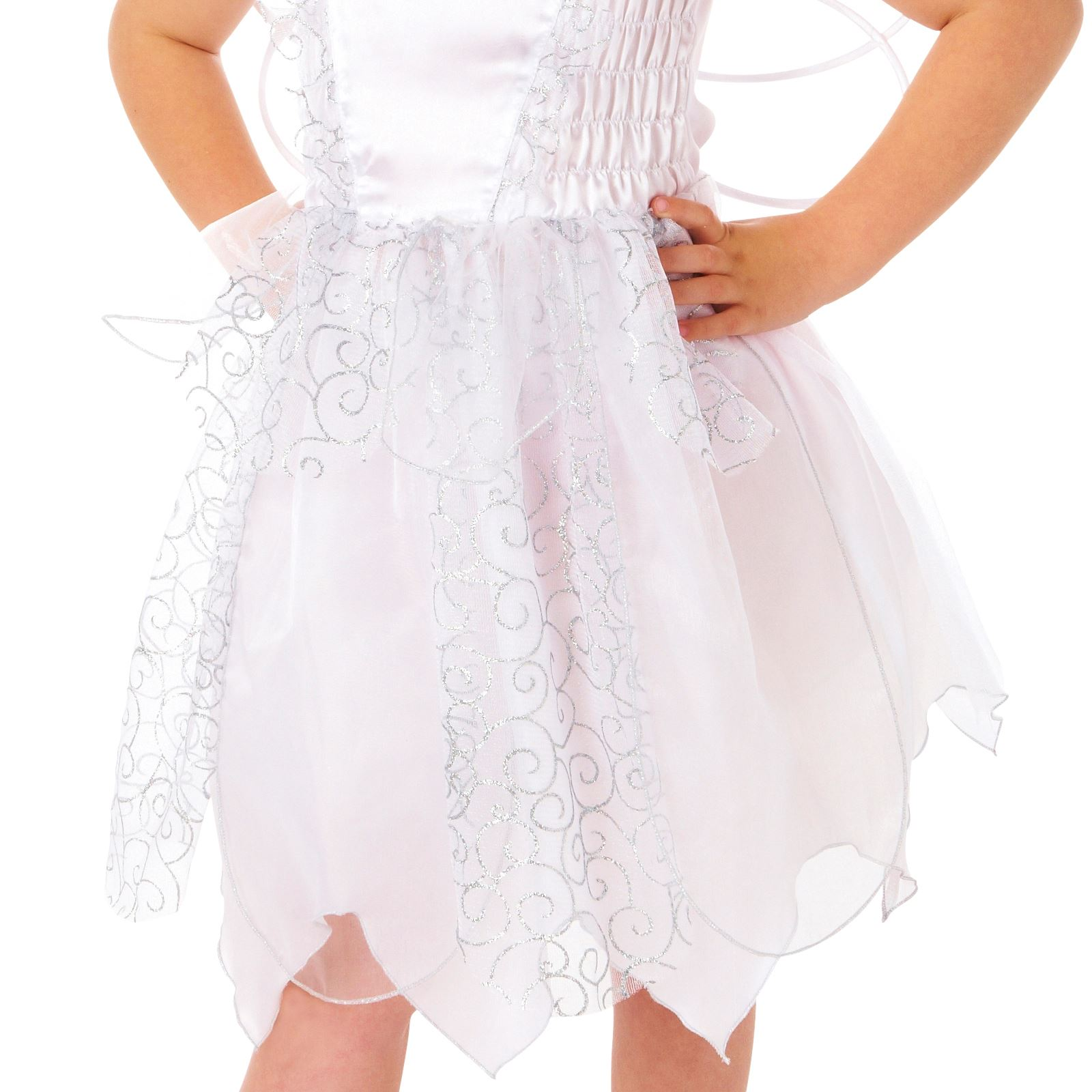 Kids Girls White Snowflake Fairy Fancy Dress Costume