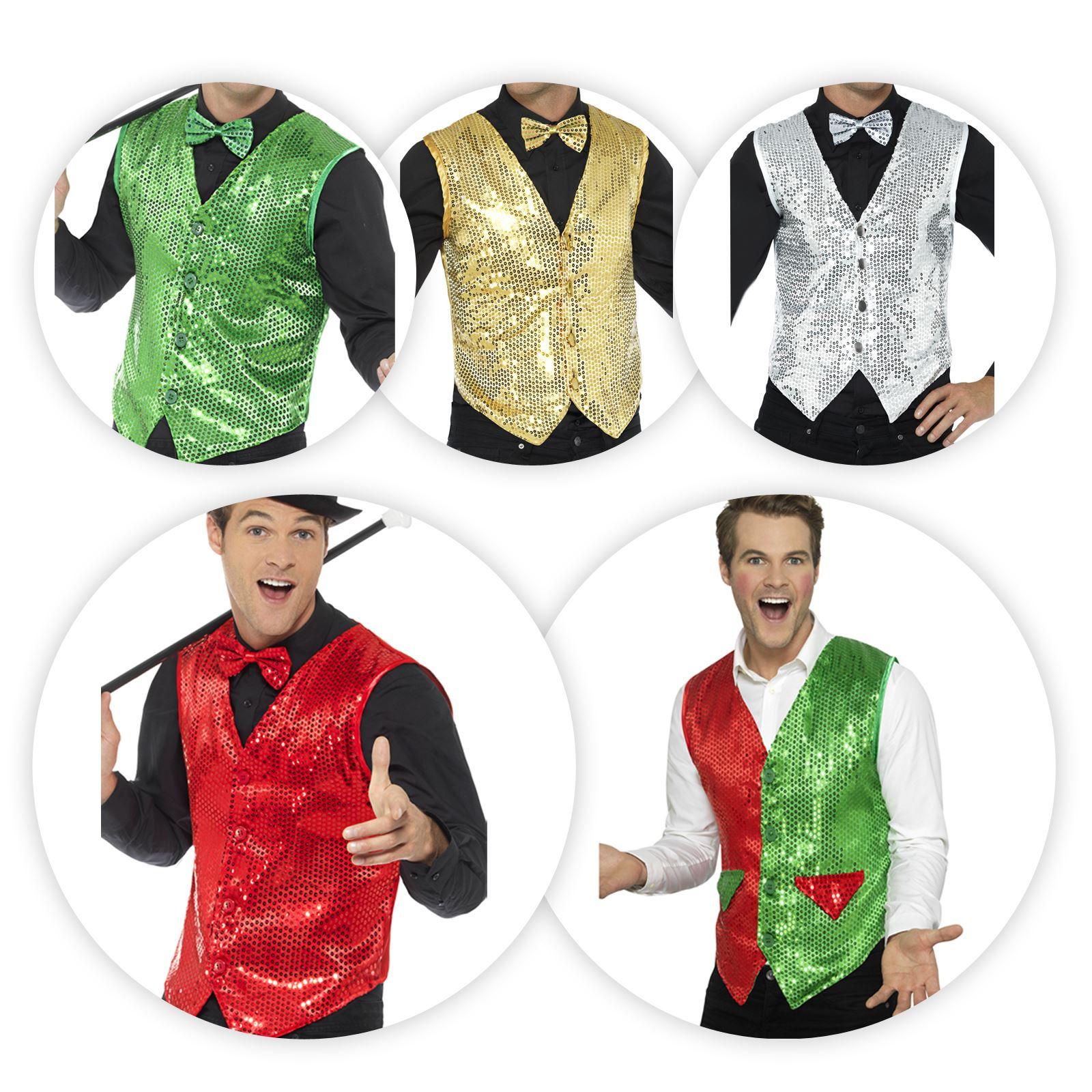 1467f33b2 Detalles de Hombre Niño Años 20 Flapper Lentejuelas Divertido Carnaval  Chaleco Disfraz