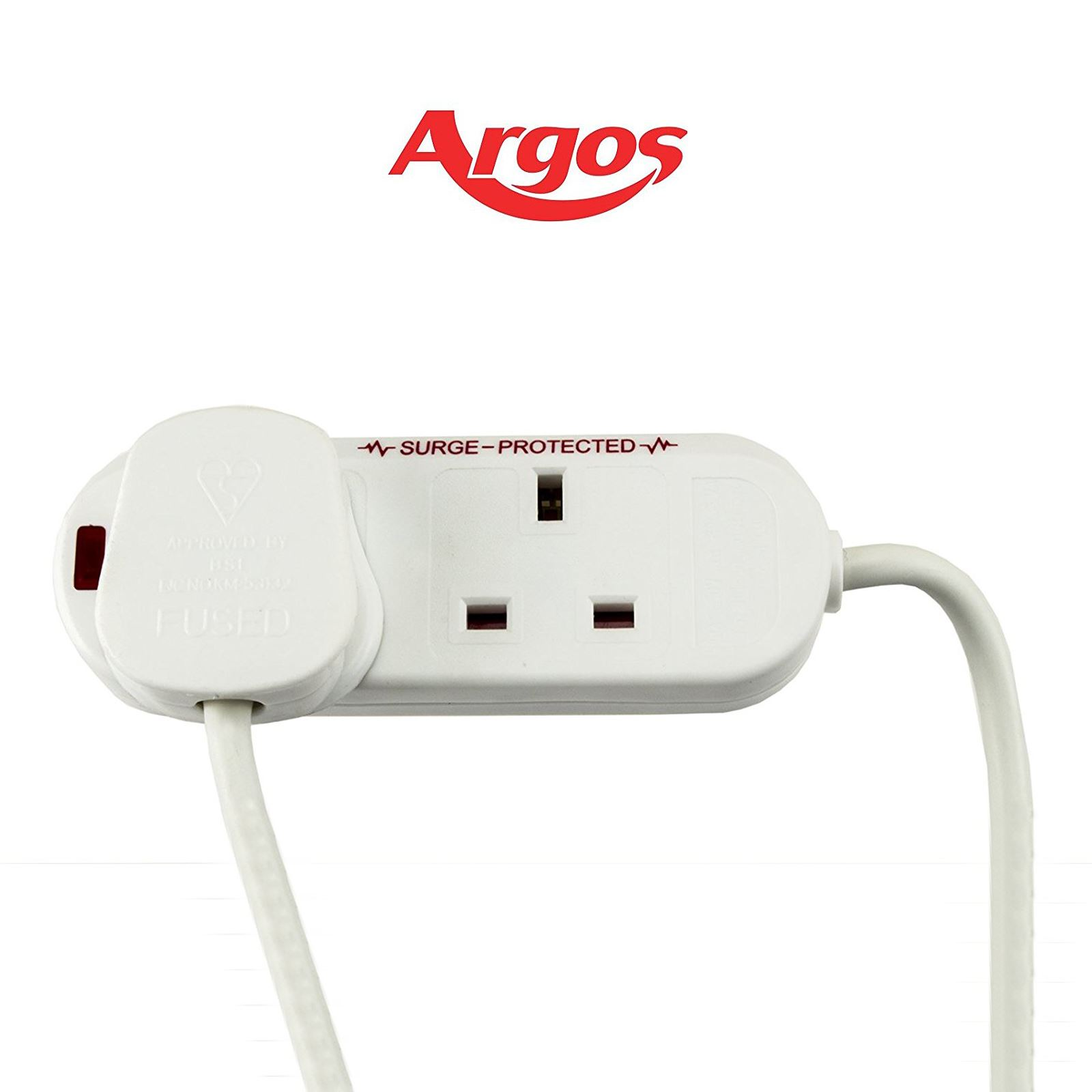 argos 2 way gang extension lead cable surge. Black Bedroom Furniture Sets. Home Design Ideas