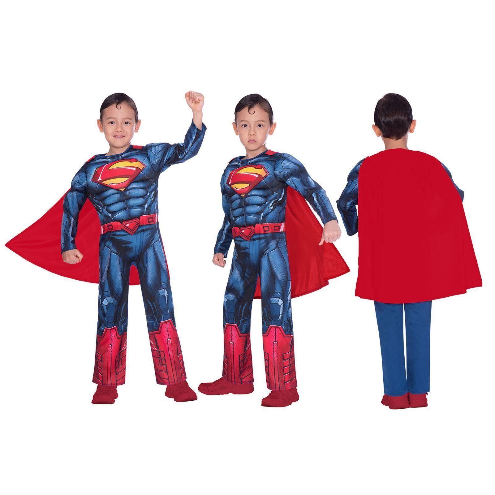 Official Superman Muscle Chest Fancy Dress Superhero Costume Adult Mens Kids