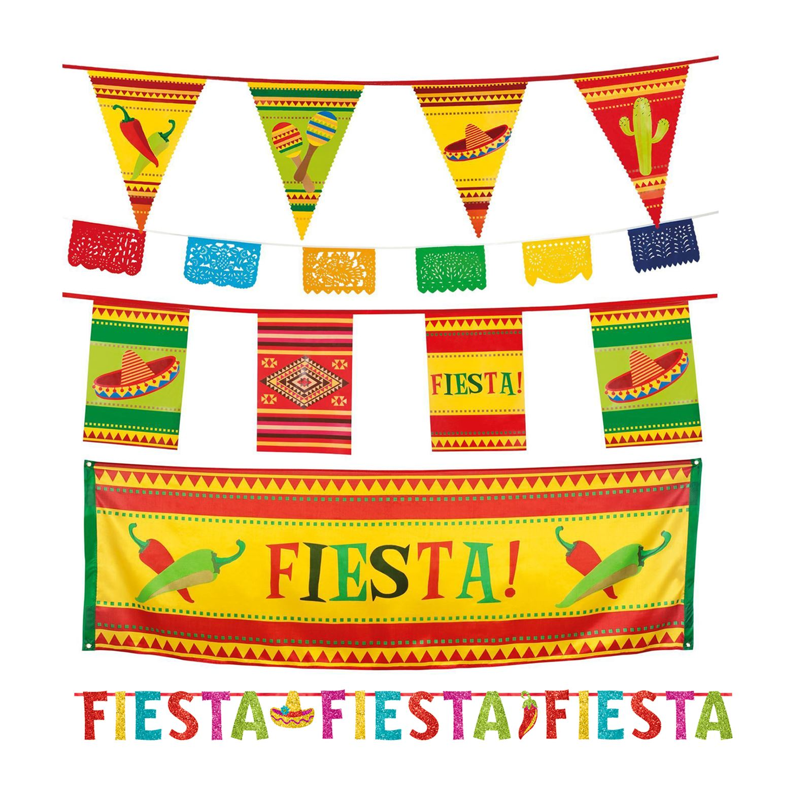 Wild West Mexican Fiesta Party Pennant Flag Hanging Banner