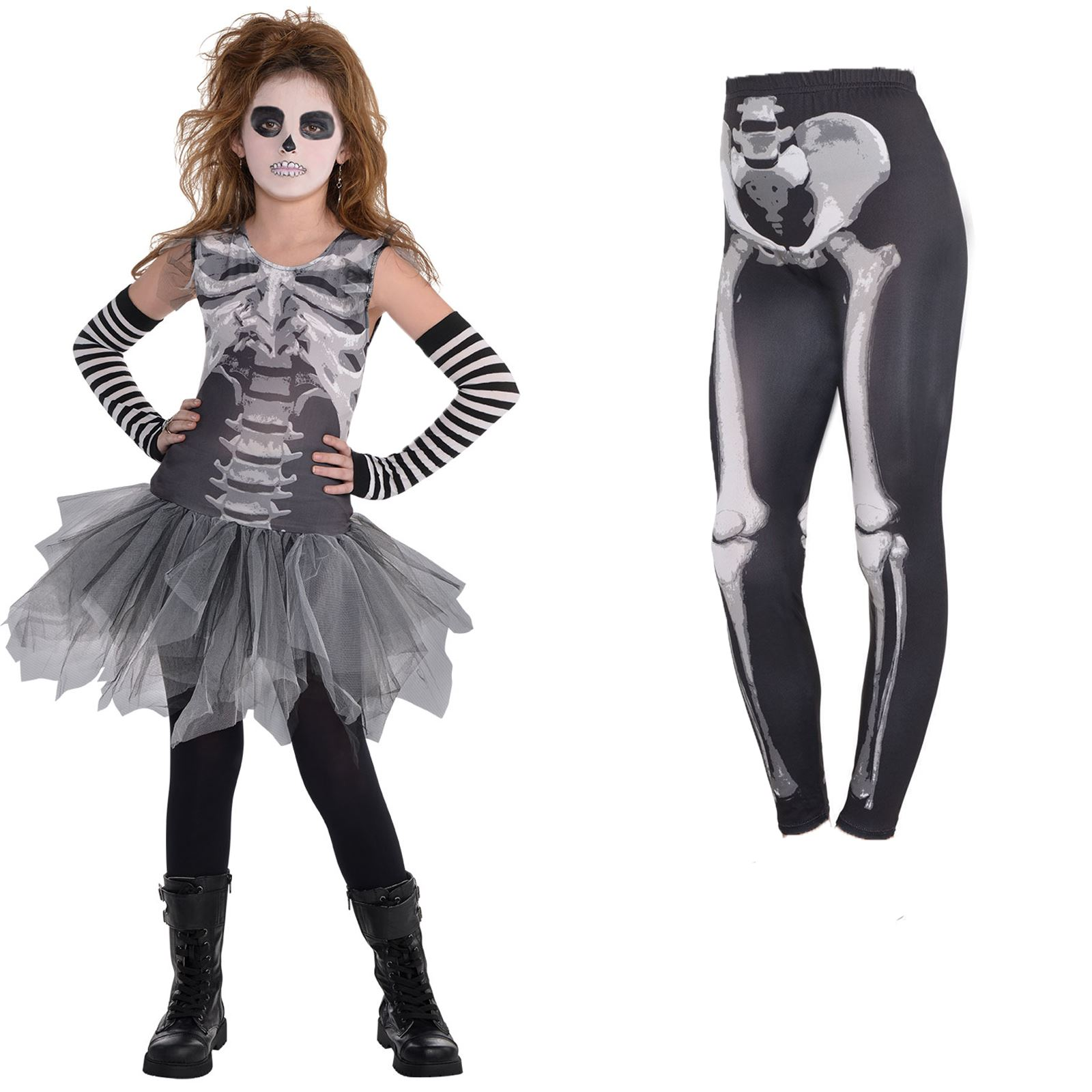 Damen Halloween Kostüm Kleid Skelett Knochen Gruseliges Outfit