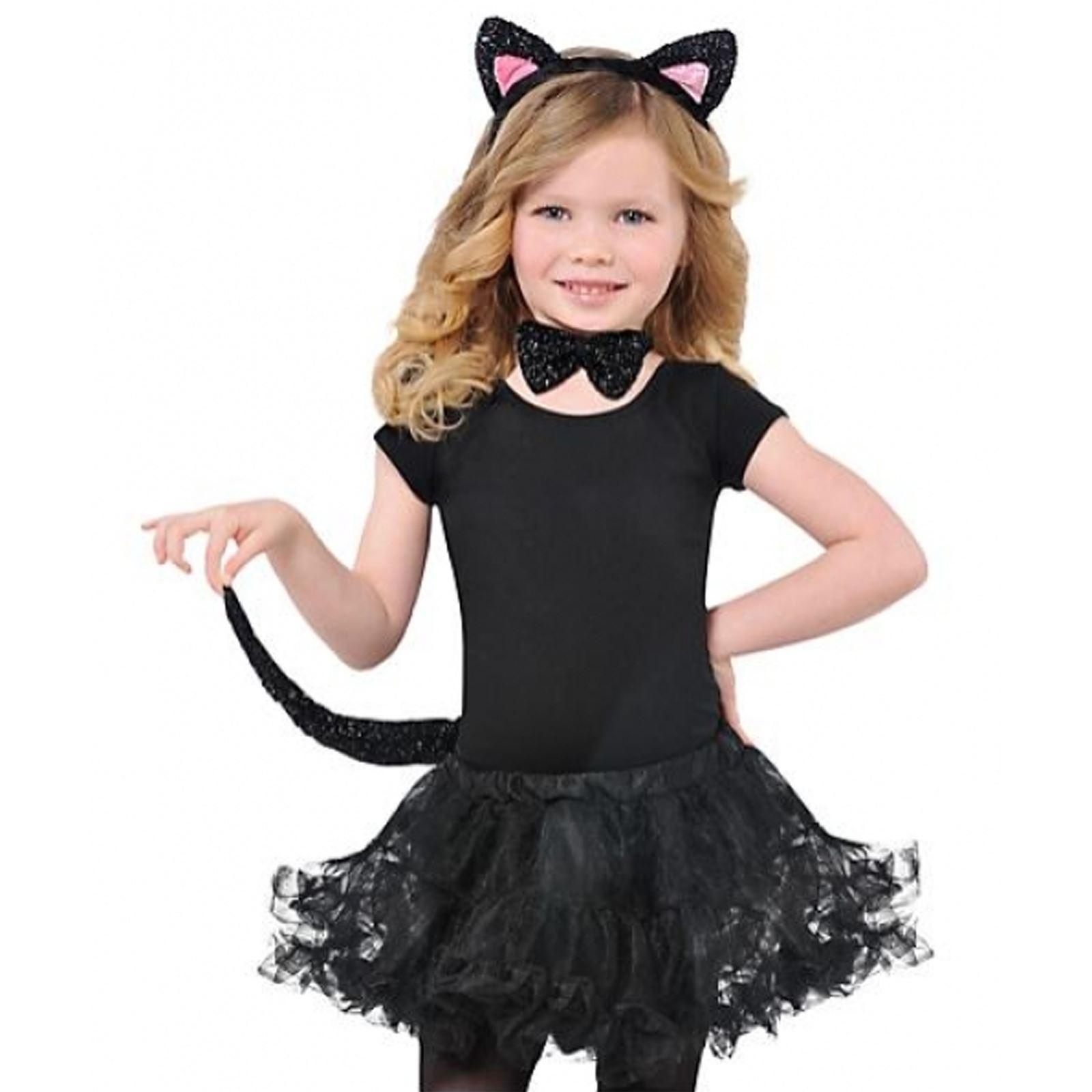 Childrens Black Cat Set Ears Tail Bow Tie Girls Fancy ...