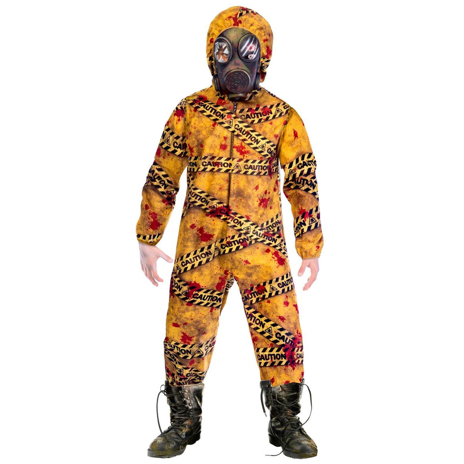 Boys Kids Hazmat Suit Costume Scary Zombie Halloween Fancy Dress ... 396d49223