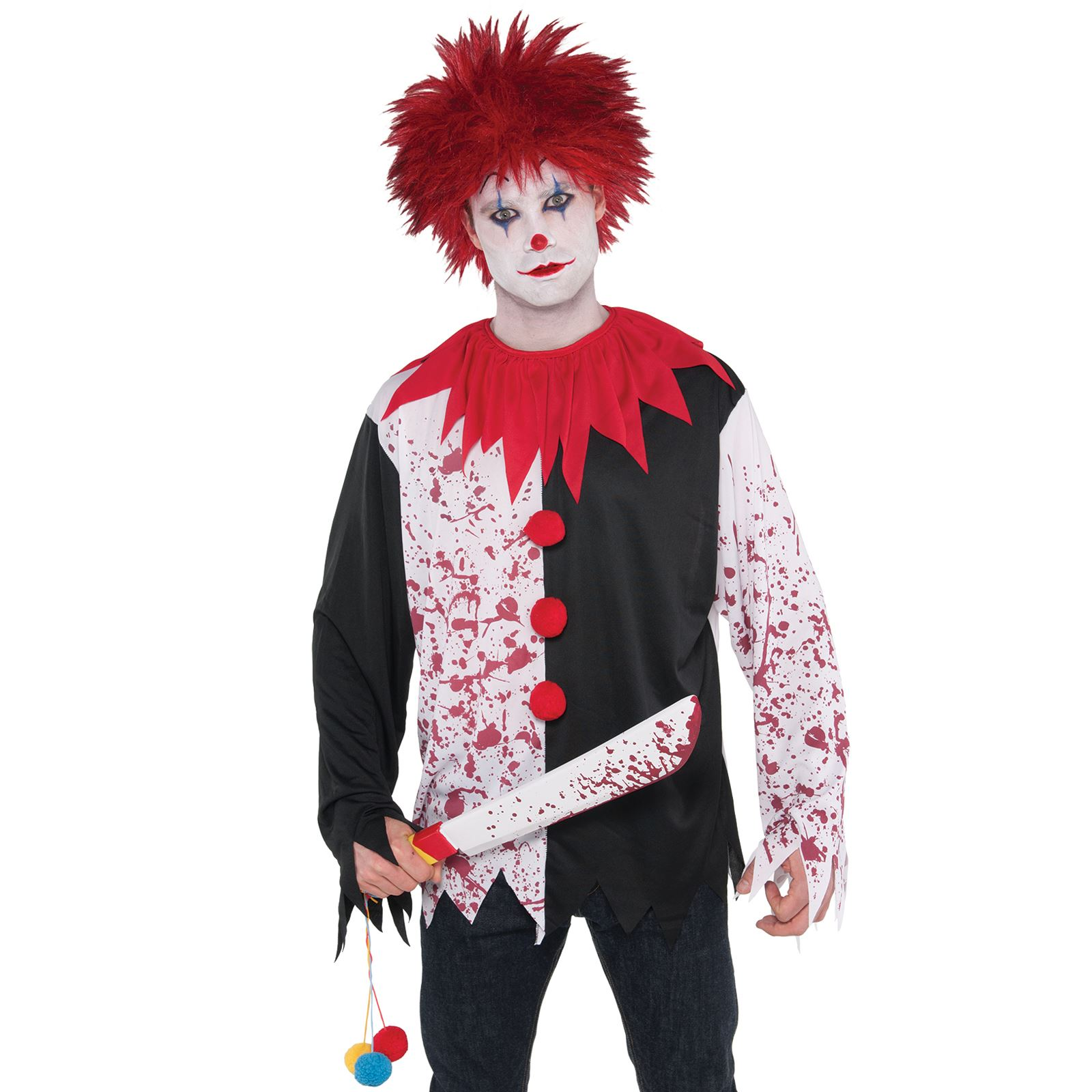 White Bloody Suit Mens Fancy Dress Gory Halloween Horror Killer Adults Costume