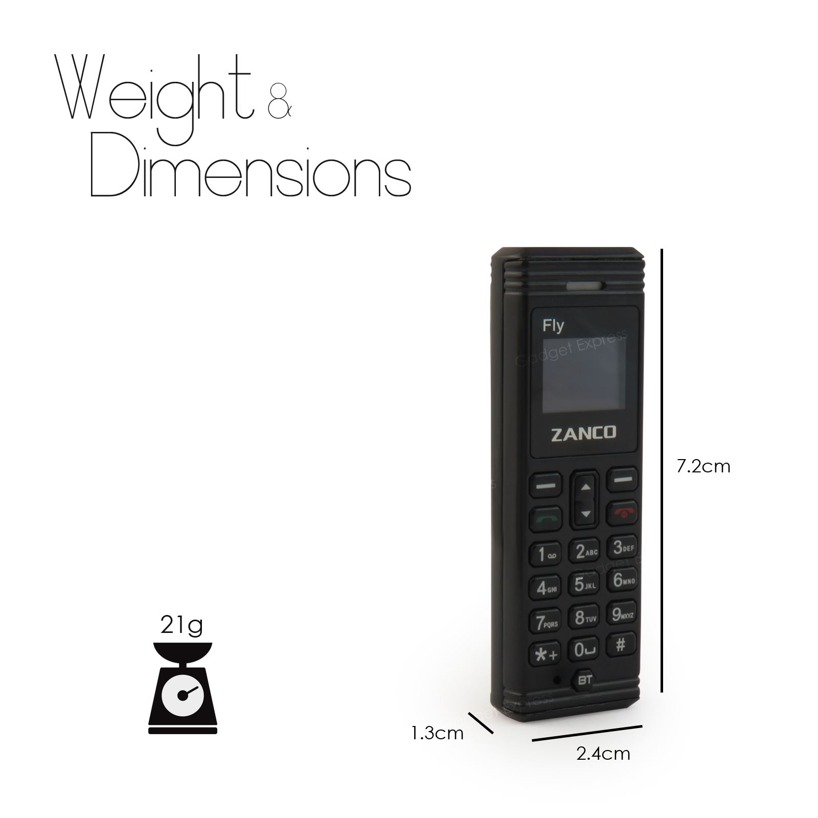 Zanco Fly Black Phone Worlds Smallest Phone with Voice ...