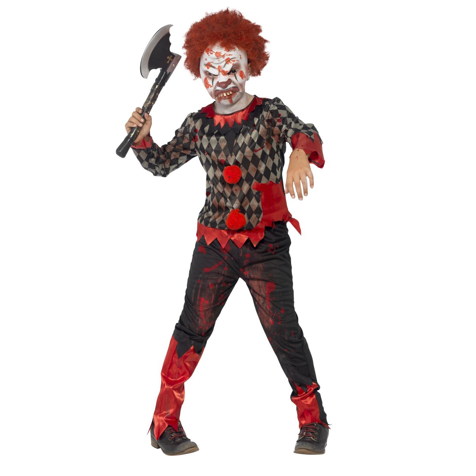child deluxe zombie clown costume boys scary halloween fancy dress
