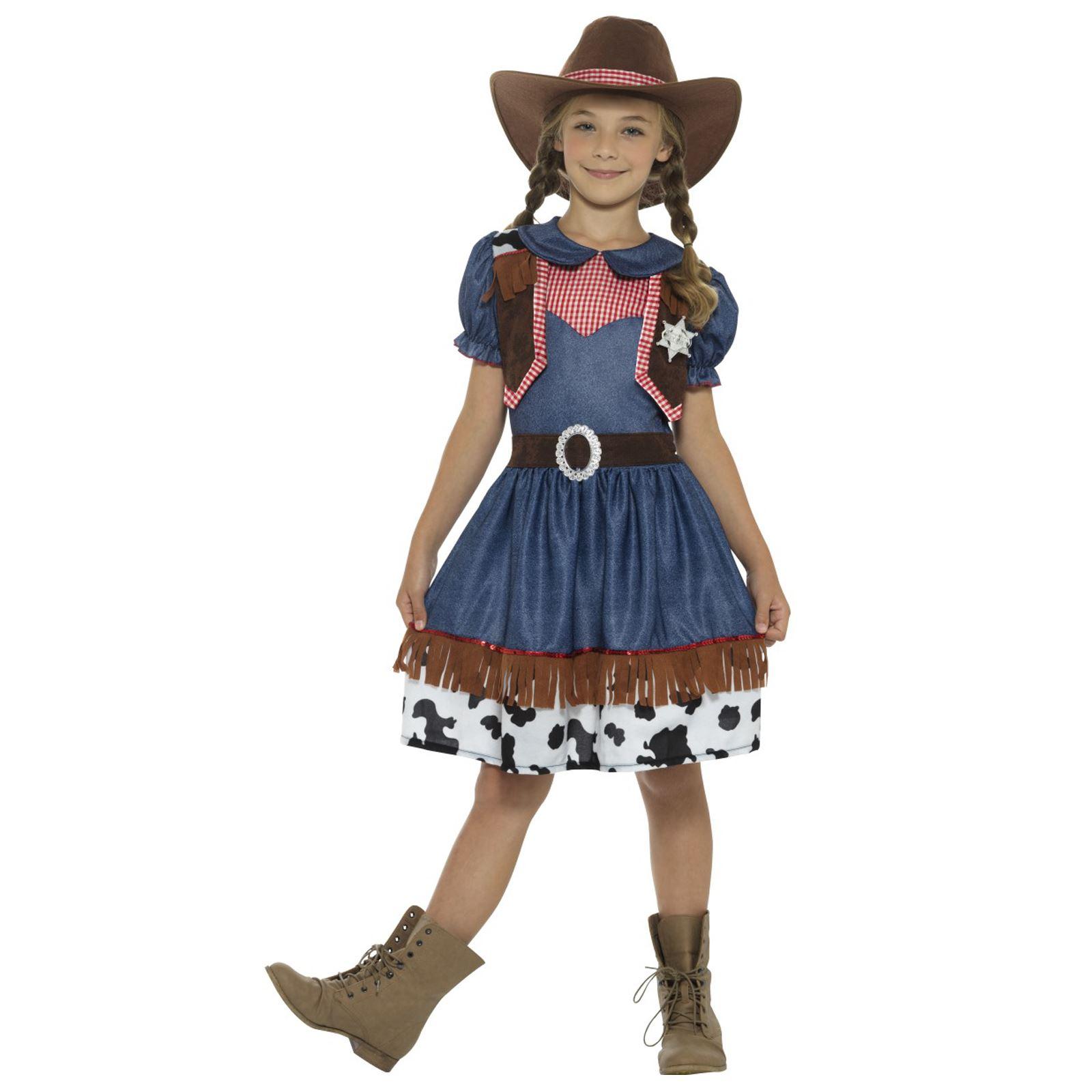 Girls Cowgirl Wild West Costume Jessie Cowboy Fancy Dress Childs Kids Book Day