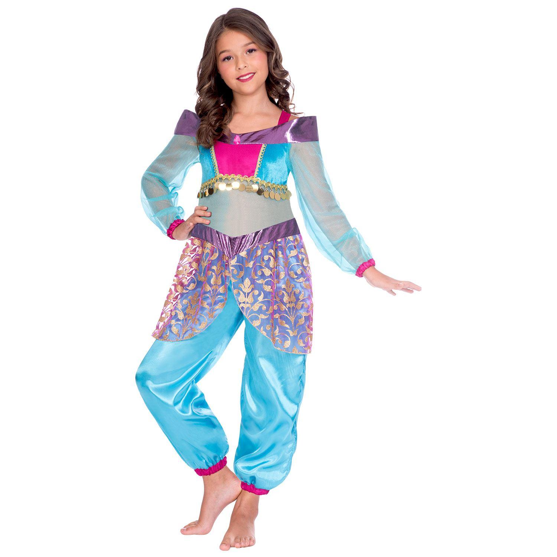 Details About Girls Arabian Princess Aladdin Genie Fancy Dress Costume Silky Kids Toy Gem Doll