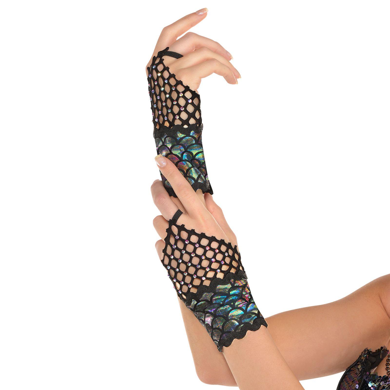 Adults Sea Siren Dark Mermaid Fishnet Gem Gloves Fish Scales Halloween Accessory