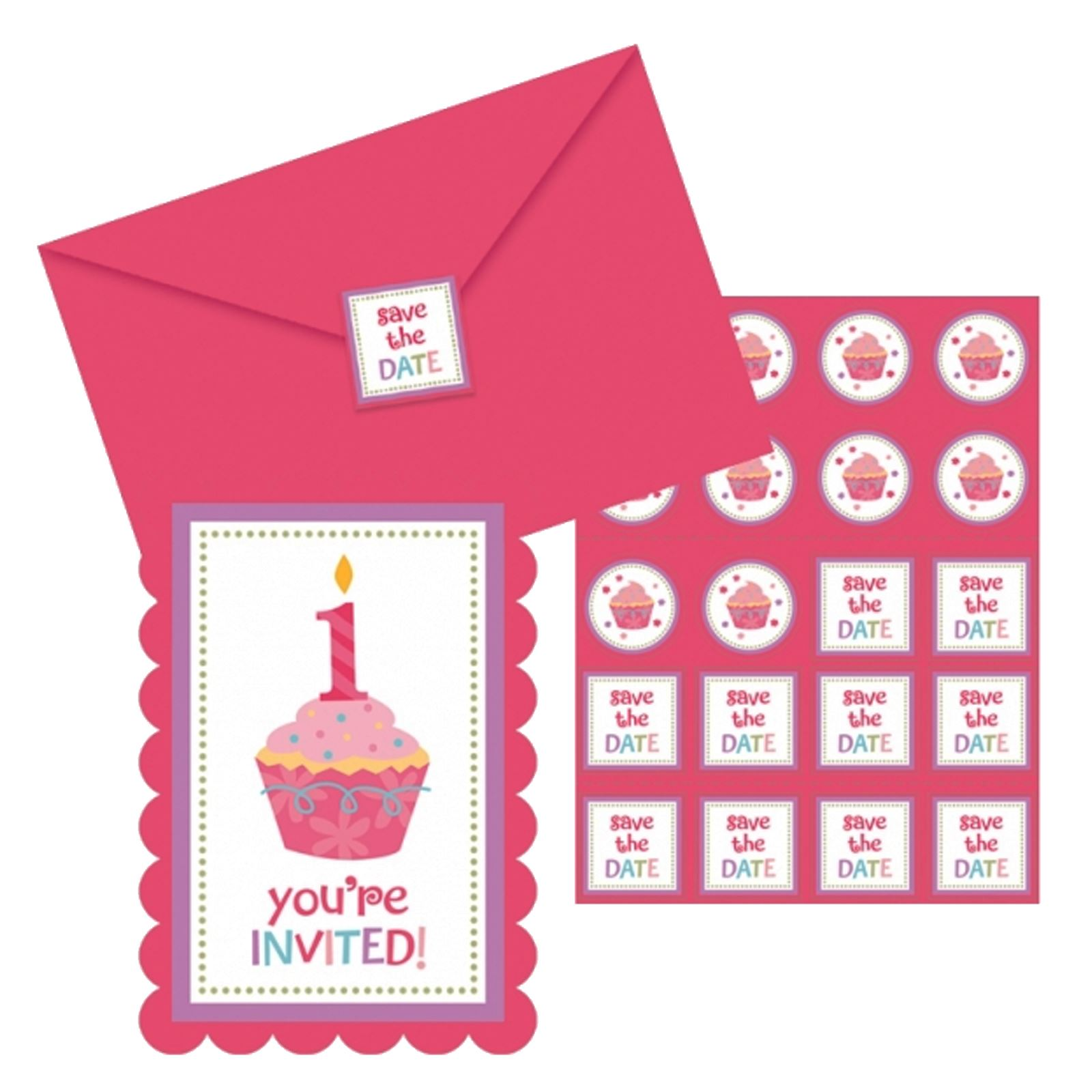 8x babies first birthday invitations blue pink 1st party invite pink and blue cupcake postcard party invitations filmwisefo