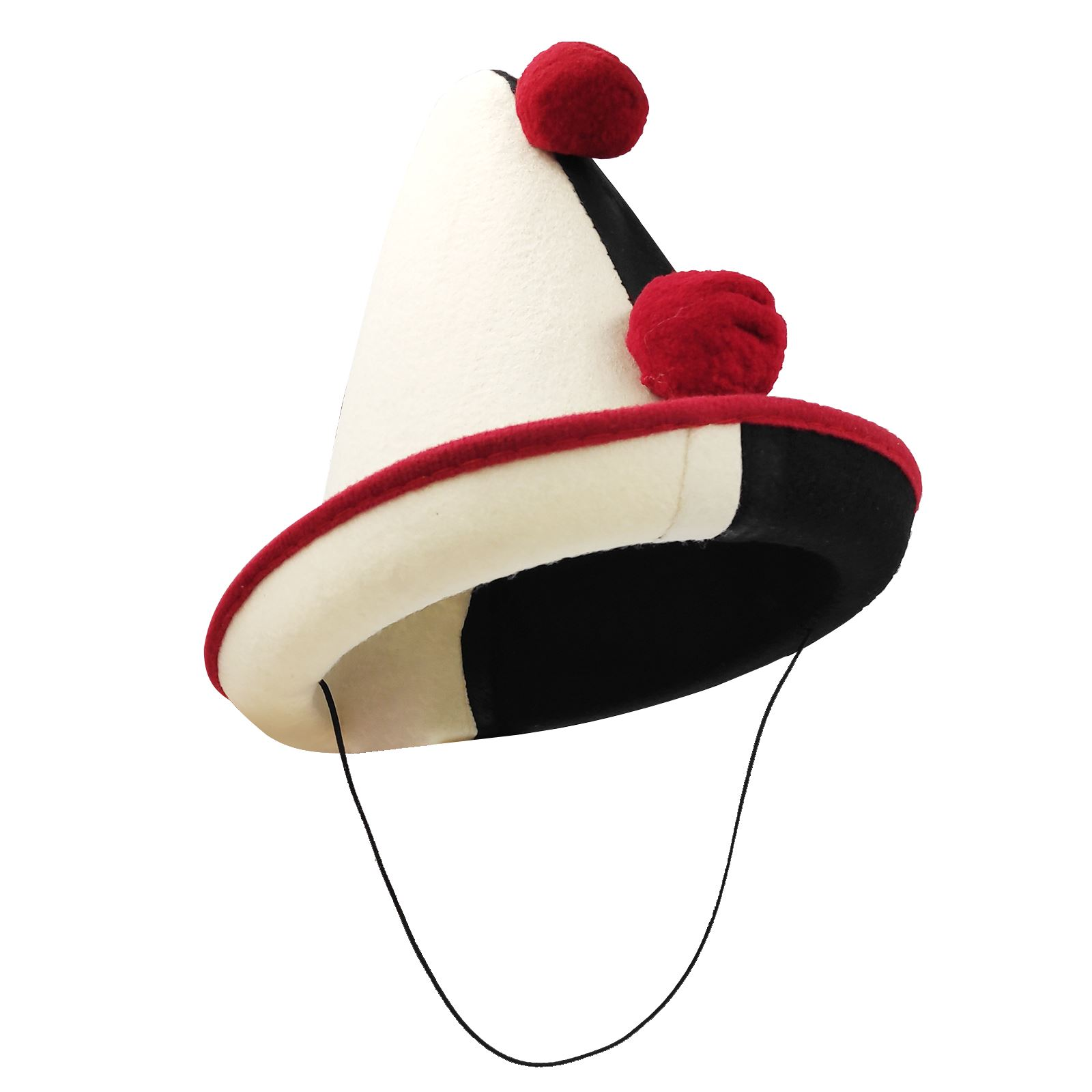 Adult Mens Creepy French Circus Clown Hat with Pom Poms Halloween Accessory