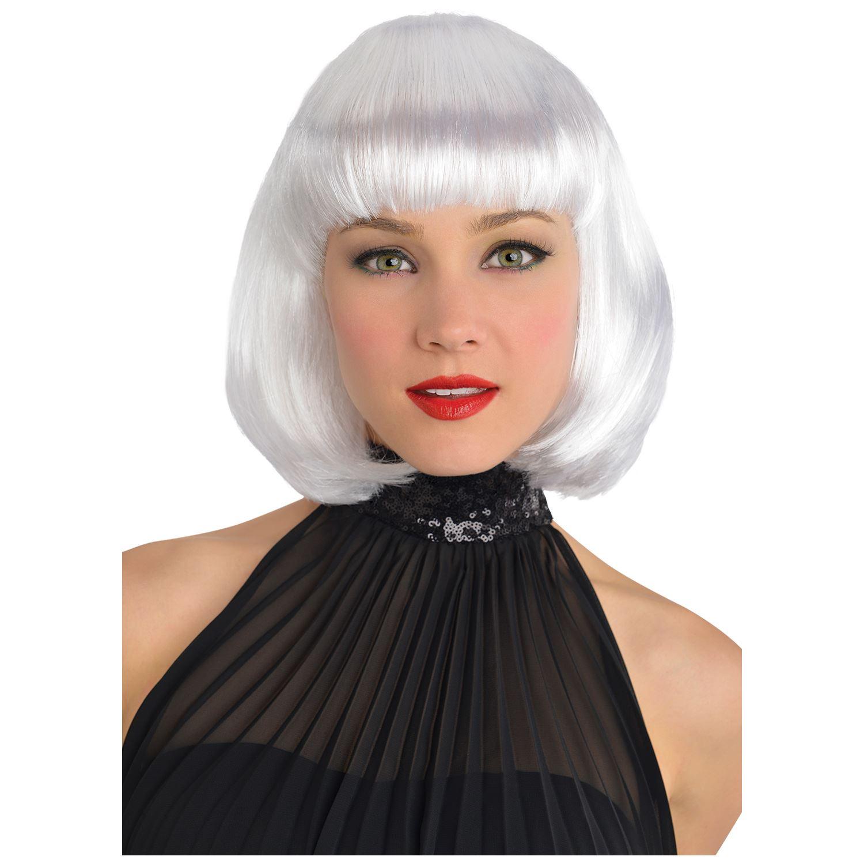 Ladies Bob Wig Platinum White Sci Fi Alien Storm Fancy Dress Cosplay Accessory