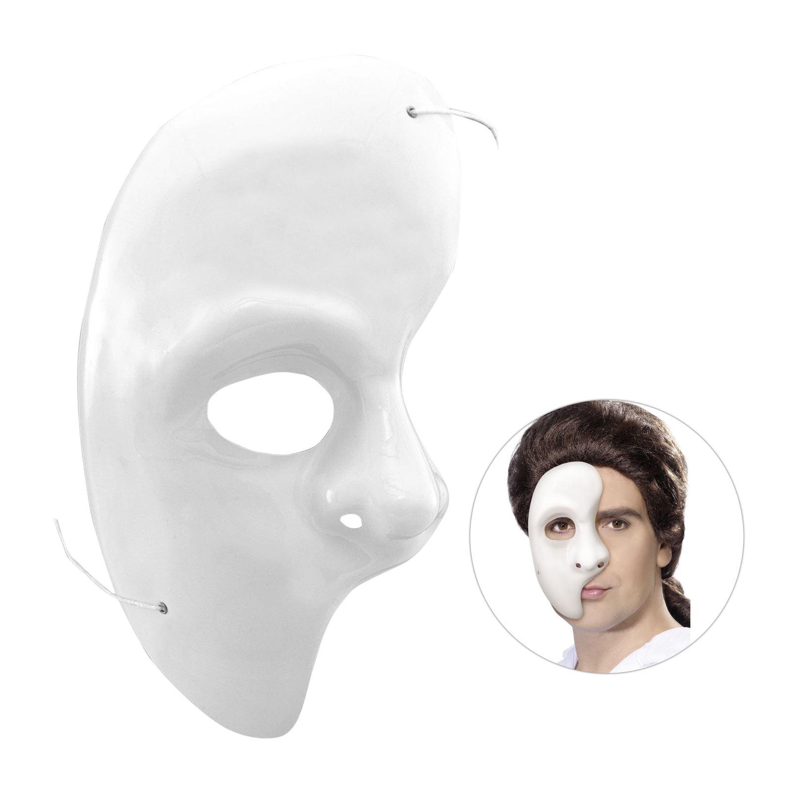 Half Face Phantom Of The Opera Venetian Masquerade Party Theatrical White Mask 5020570015933 Ebay