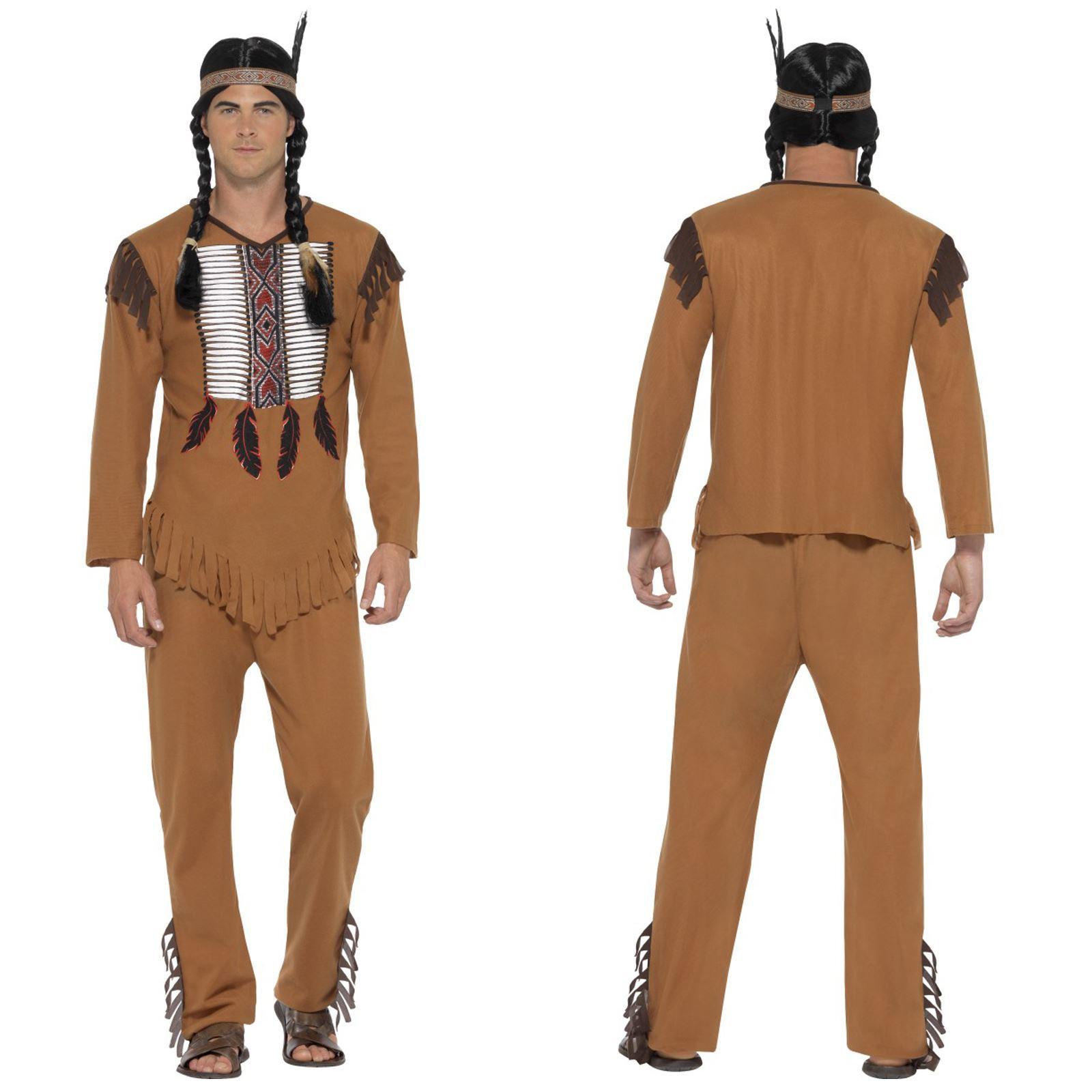 Men's Native Indian Fancy Dress Costume  American Halloween Stag Cowboy Festival