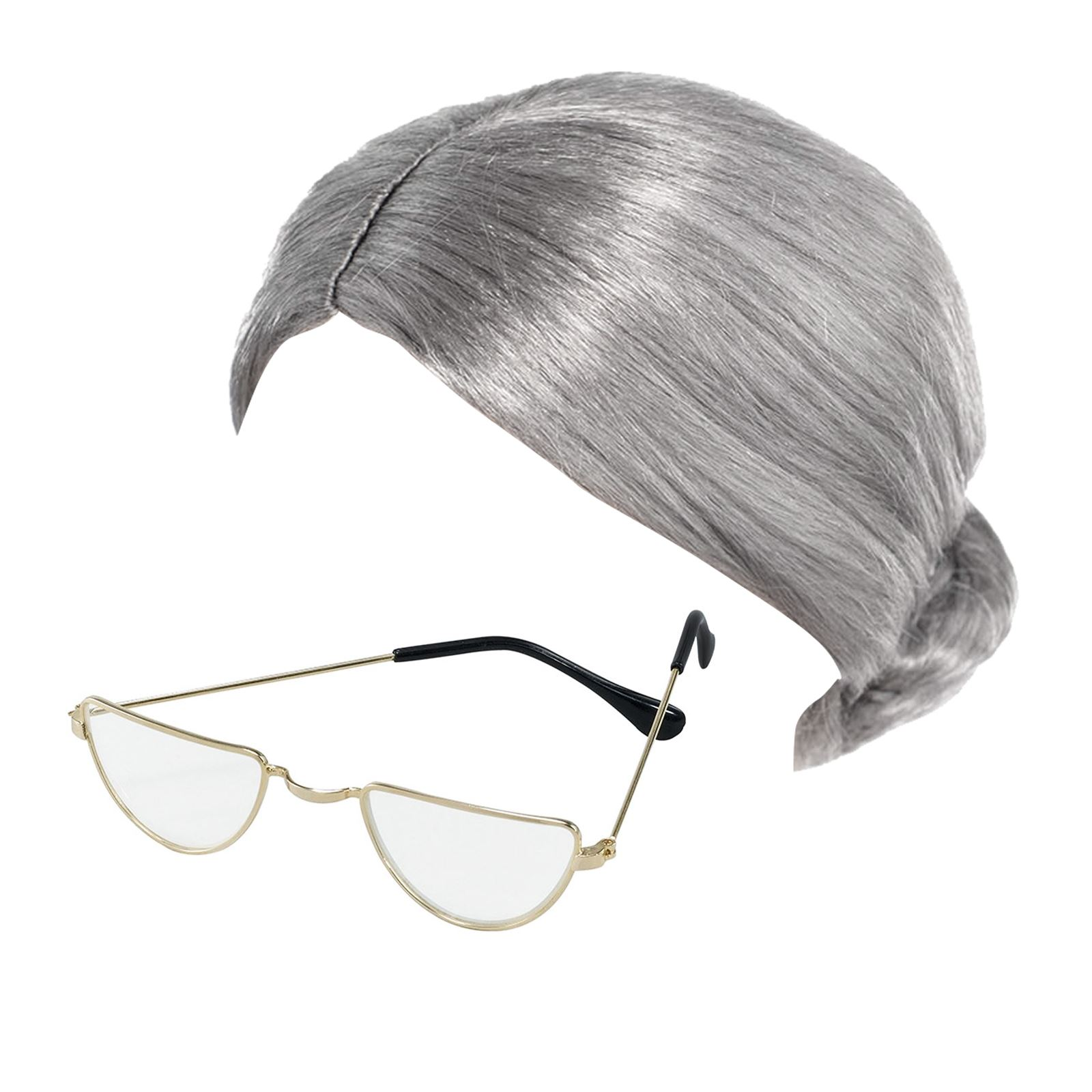 Men/'s Old Gravity Granny Fancy Dress Costume Or Zimmer Hair /& Glasses Stag Fun