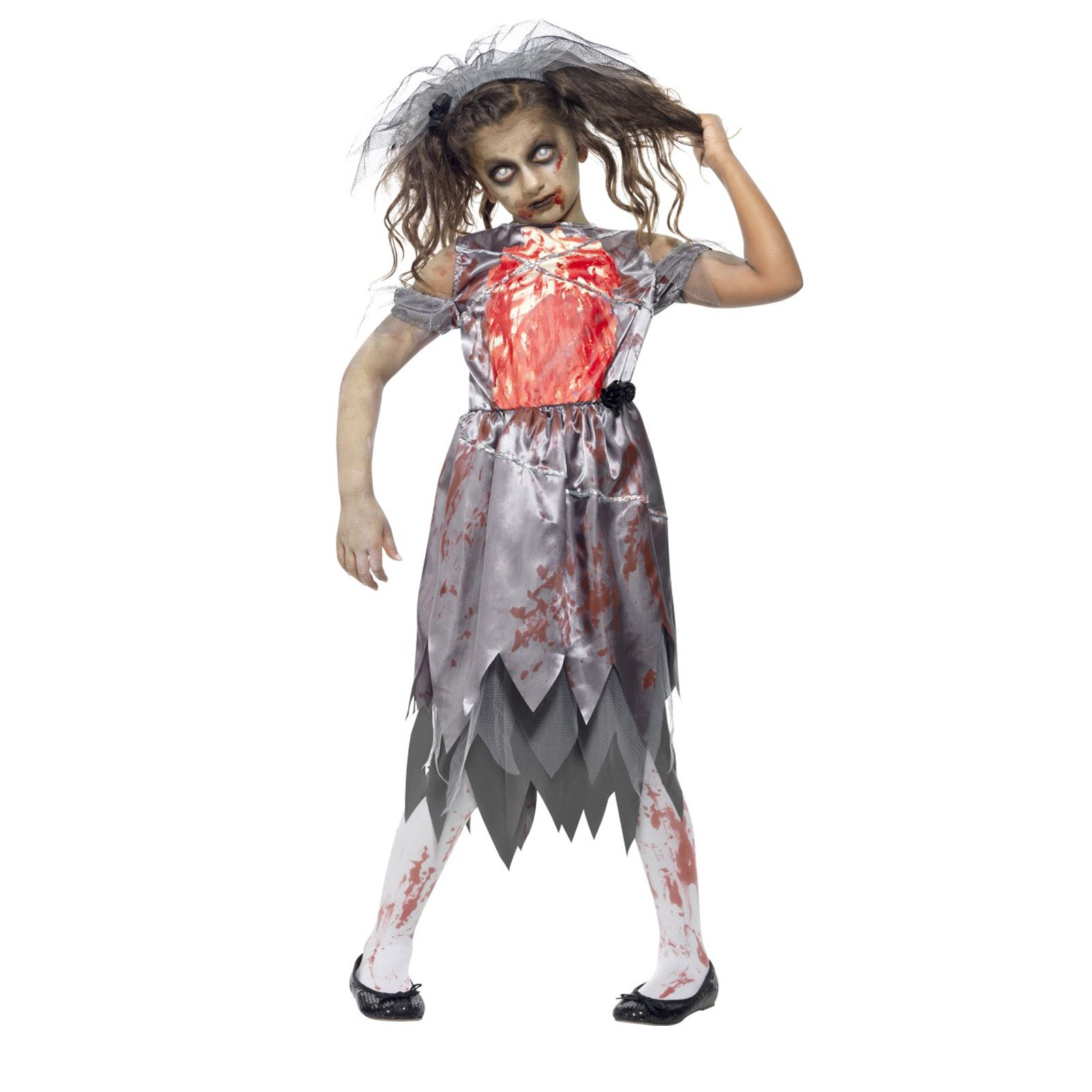 Girls Bride To Be Zombie Dress Costume With Veil