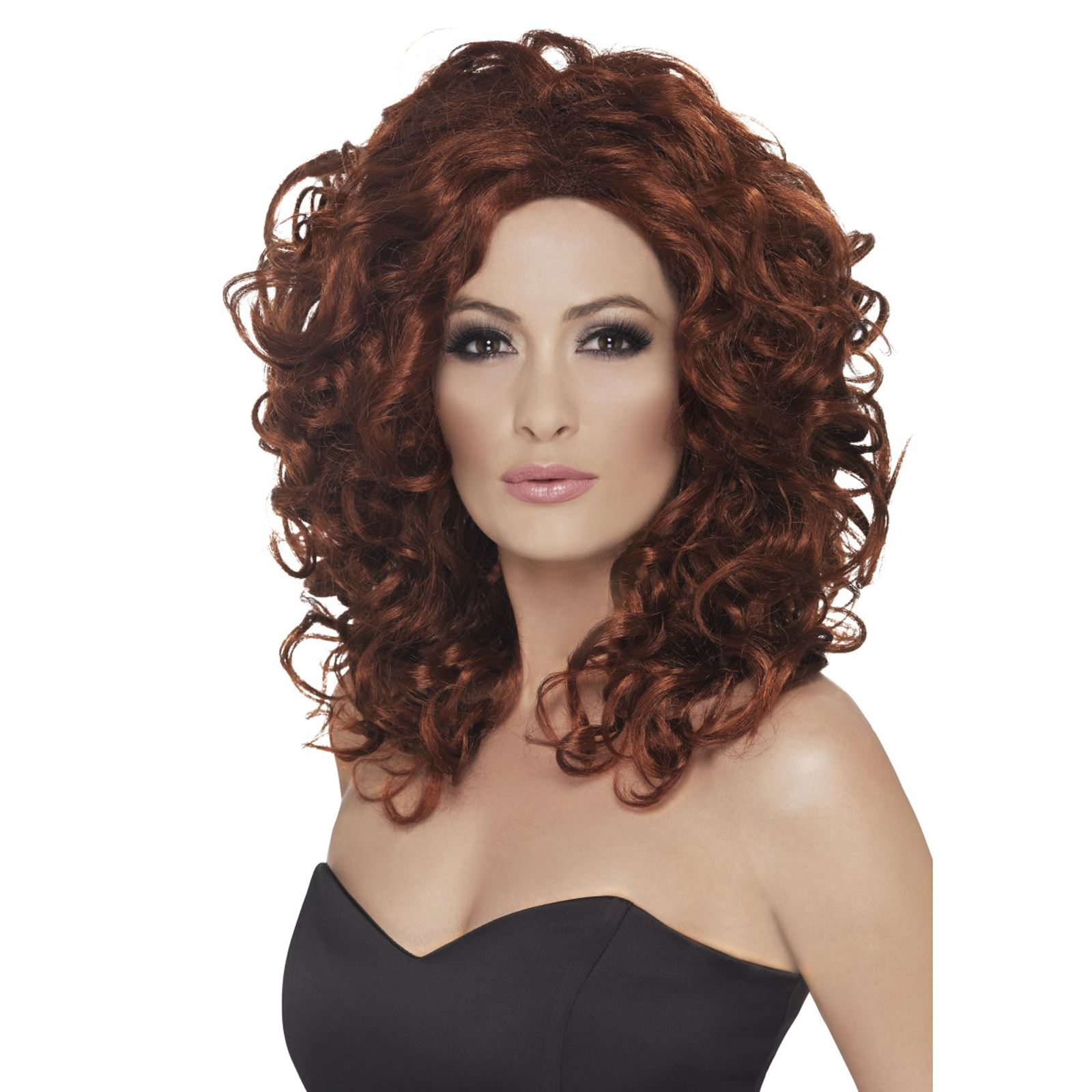 Adult Ladies Pop Star Celebrity Auburn Brown Curly Wig Fancy Dress Accessory