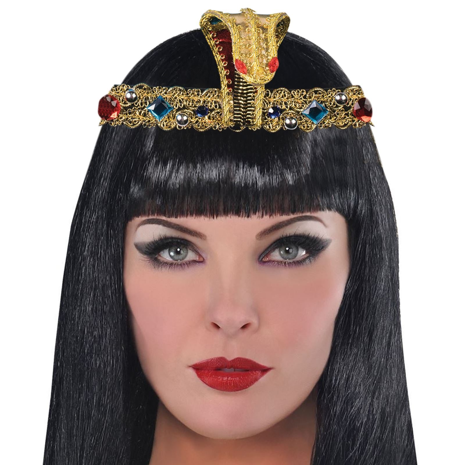 89c19be0b5f Egyptian Pharoah Headband Cobra Snake Jewels Gold Cleopatra Headwear ...