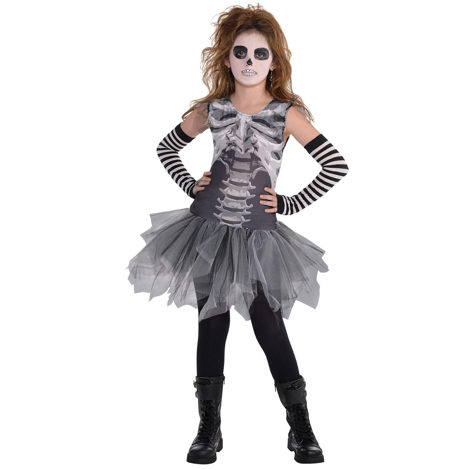 fb377b1fc0577 Kids Girls Black & Bone Skeleton Tutu Dress Leggings Halloween ...