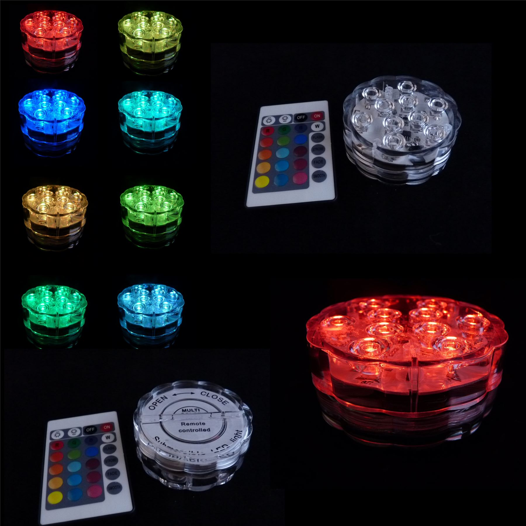 10-Multicolore-LED-BASE-TELECOMANDO-VASO-FESTA-MATRIMONIO-AQUA-CRYSTAL